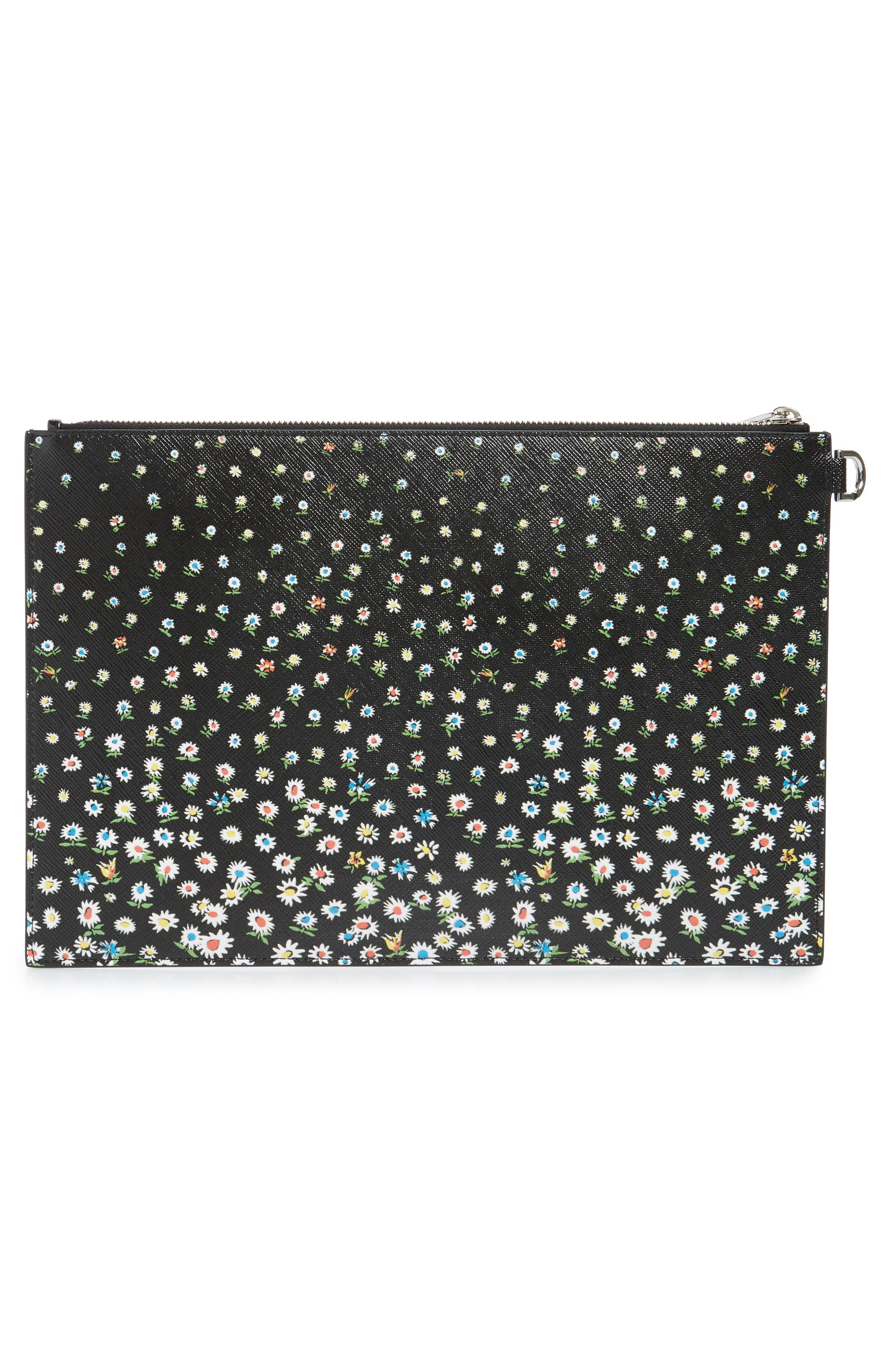 GIVENCHY, Medium Iconic Coated Canvas Pouch, Alternate thumbnail 3, color, BLACK