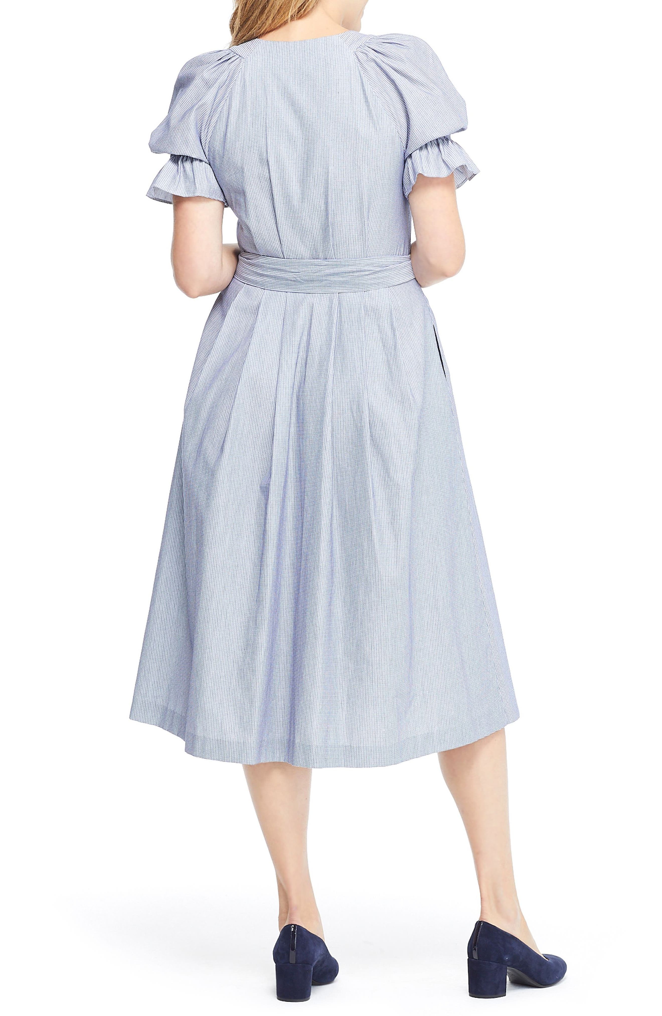 GAL MEETS GLAM COLLECTION, Daisy Cotton Dobby Shirtdress, Alternate thumbnail 2, color, BLUE/ WHITE