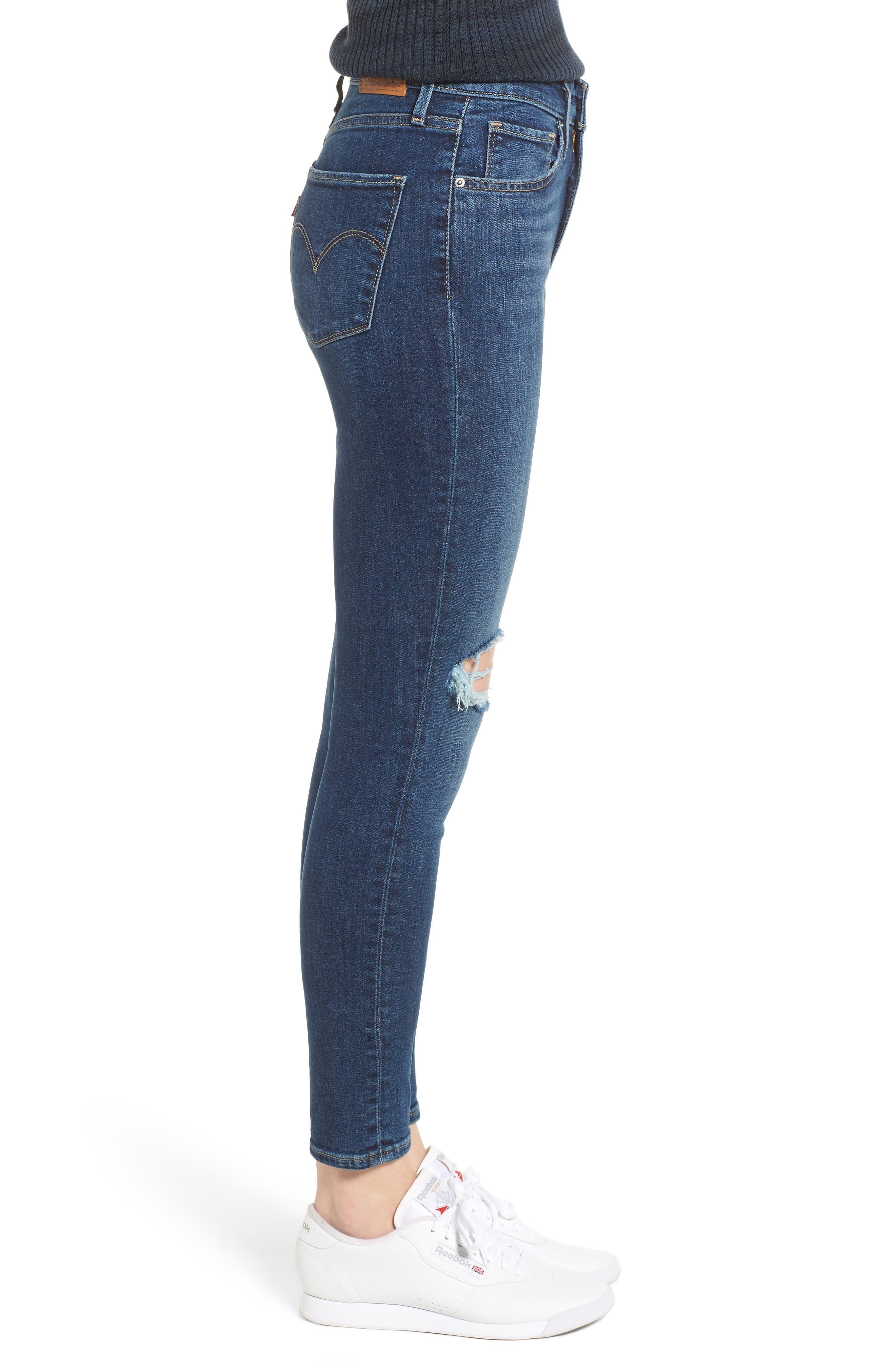 LEVI'S<SUP>®</SUP>, 721<sup>™</sup> Ripped High Waist Skinny Jeans, Alternate thumbnail 4, color, INDIGO LUNA