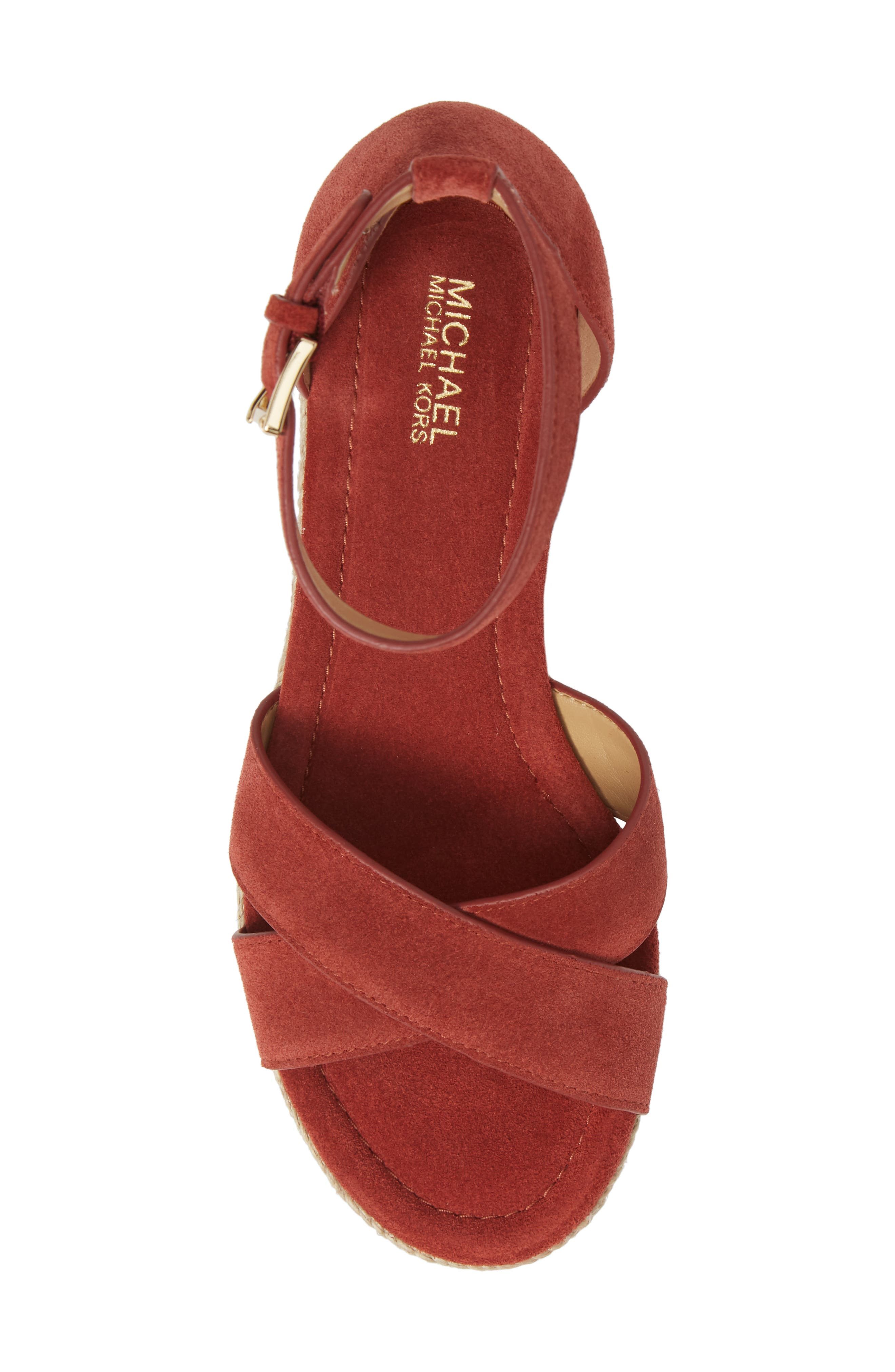MICHAEL MICHAEL KORS, Desiree Jute Espadrille Wedge, Alternate thumbnail 5, color, TERRACOTTA SUEDE
