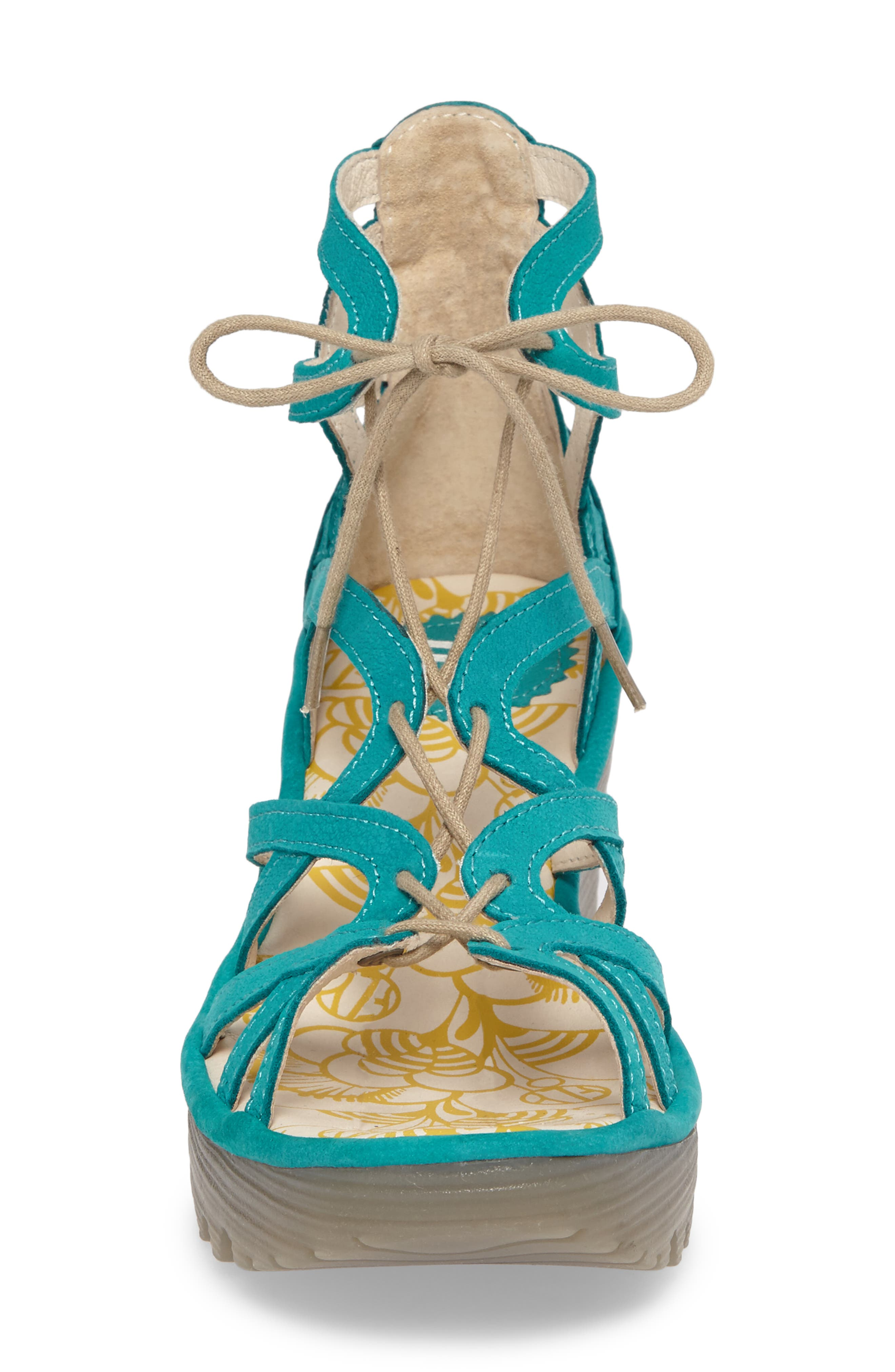 FLY LONDON, 'Yuke' Platform Wedge Sandal, Alternate thumbnail 4, color, VERDIGRIS LEATHER
