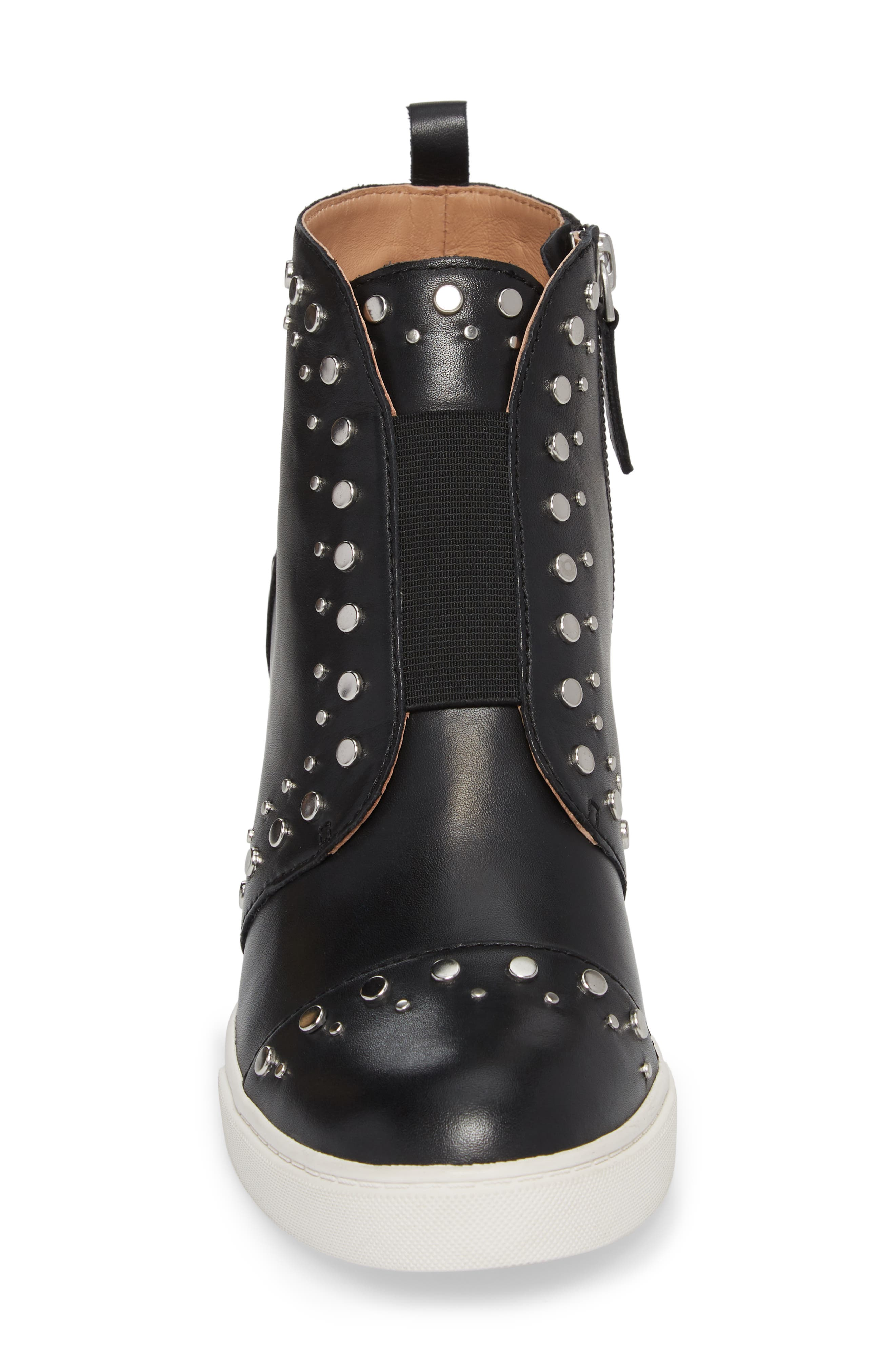 LINEA PAOLO, Felicity Wedge Sneaker, Alternate thumbnail 4, color, BLACK LEATHER