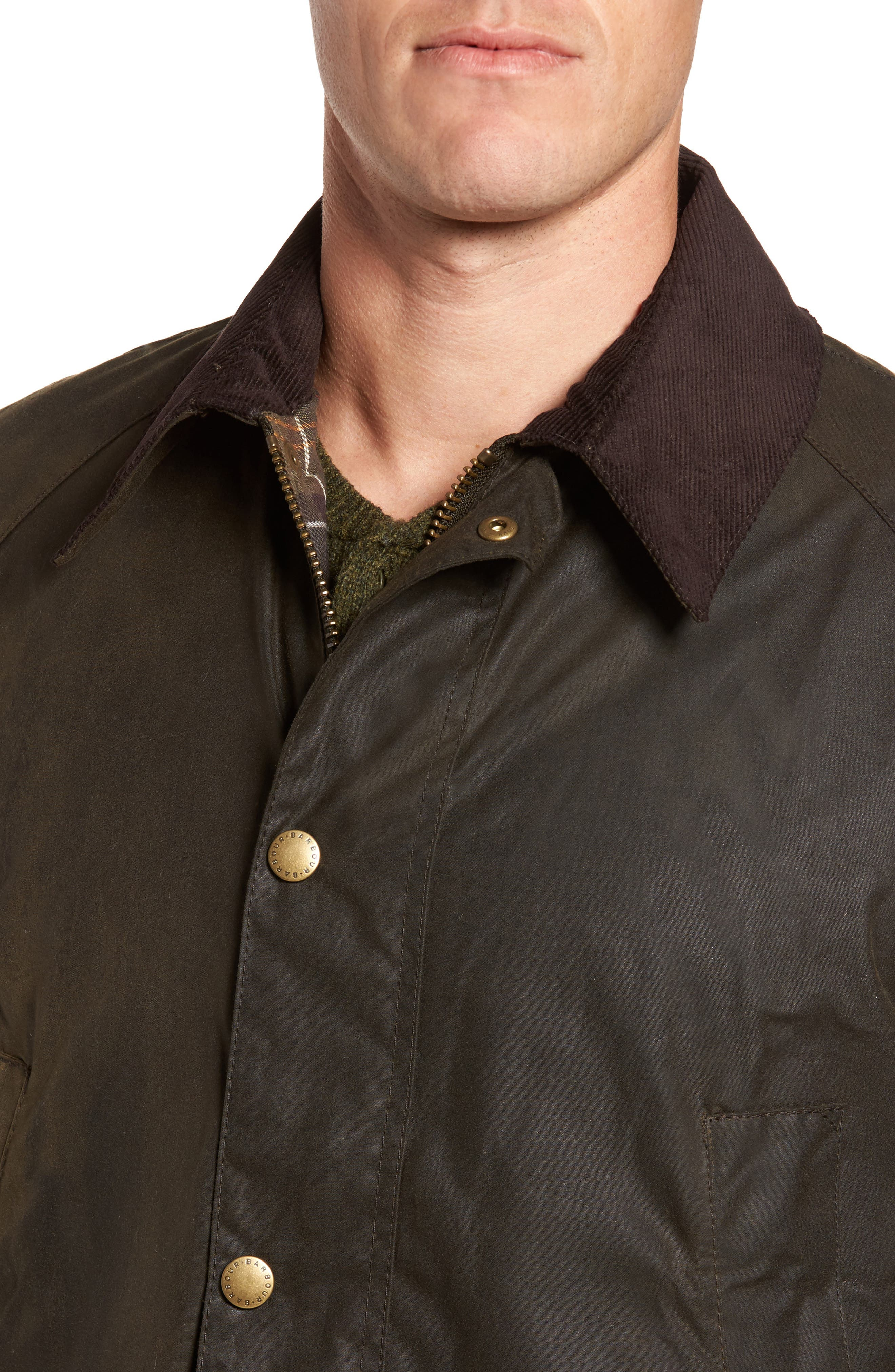BARBOUR, Ashby Wax Jacket, Alternate thumbnail 5, color, OLIVE