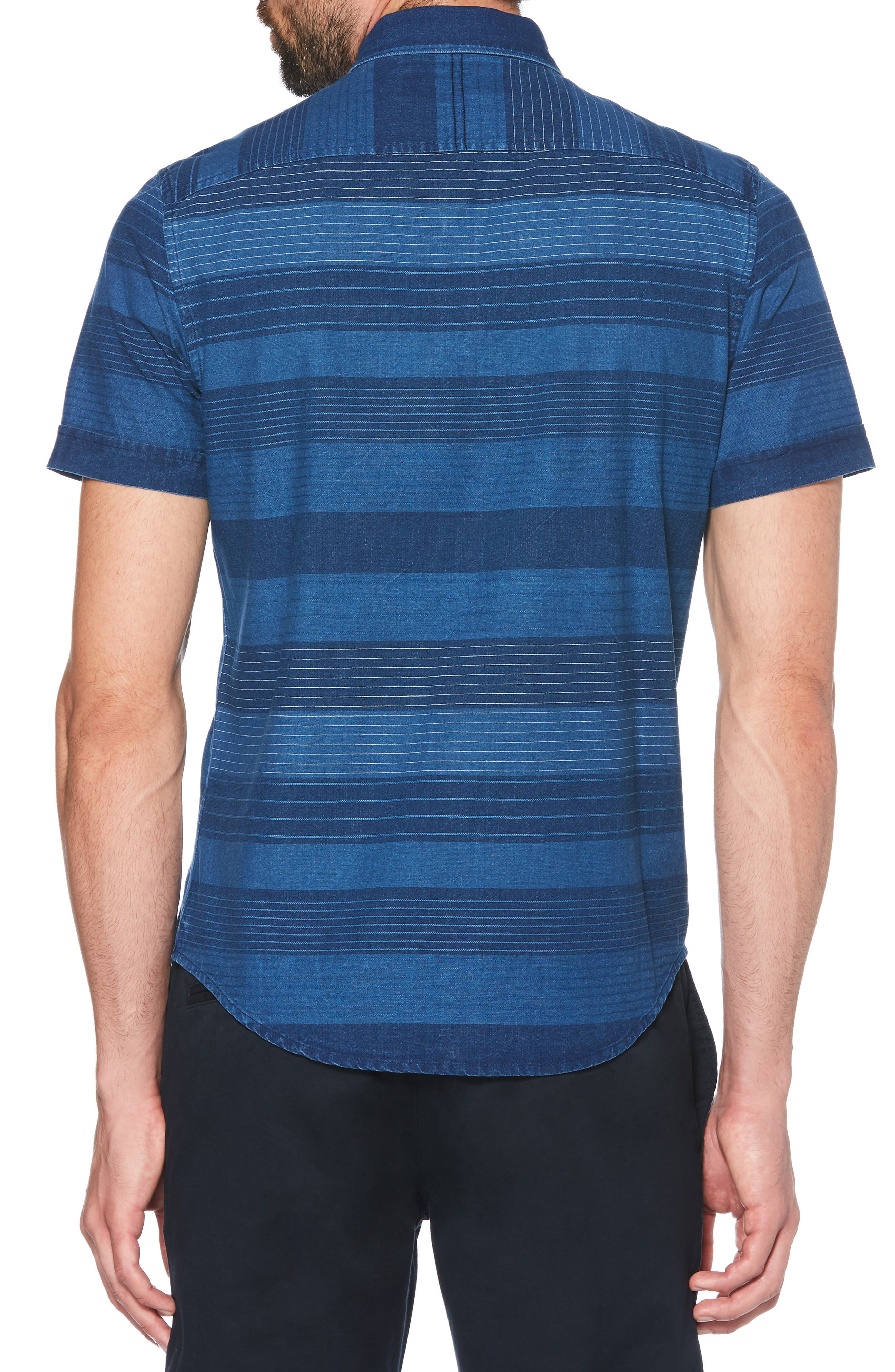 ORIGINAL PENGUIN, Slim Fit Dobby Striped Sport Shirt, Alternate thumbnail 3, color, DARK DENIM