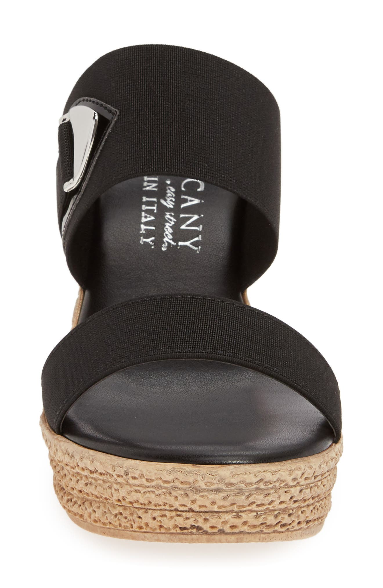 TUSCANY BY EASY STREET<SUP>®</SUP>, Marisole Platform Wedge Sandal, Alternate thumbnail 4, color, BLACK LEATHER