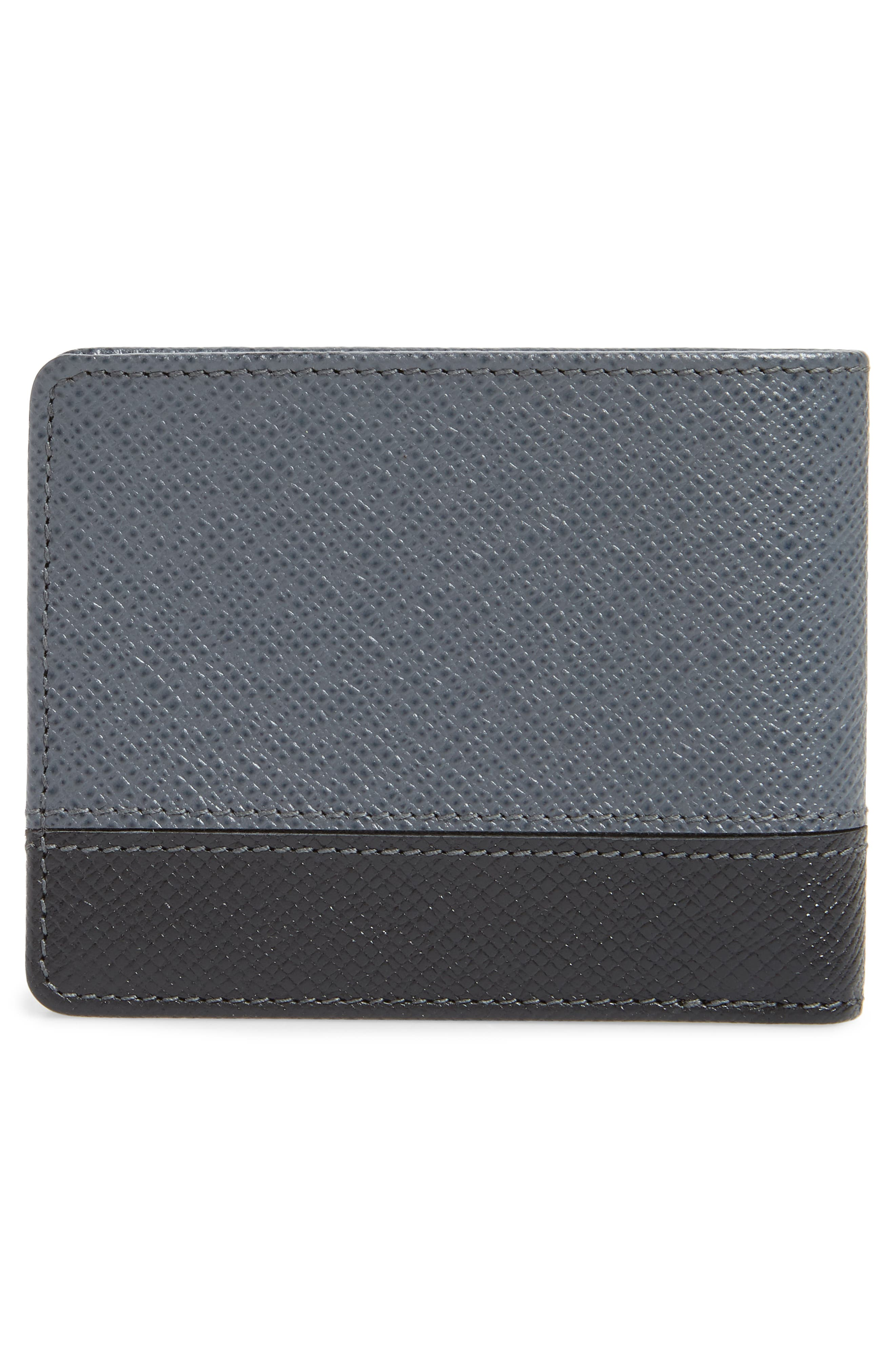 BOSS, Embossed Leather Wallet, Alternate thumbnail 3, color, DARK GREY