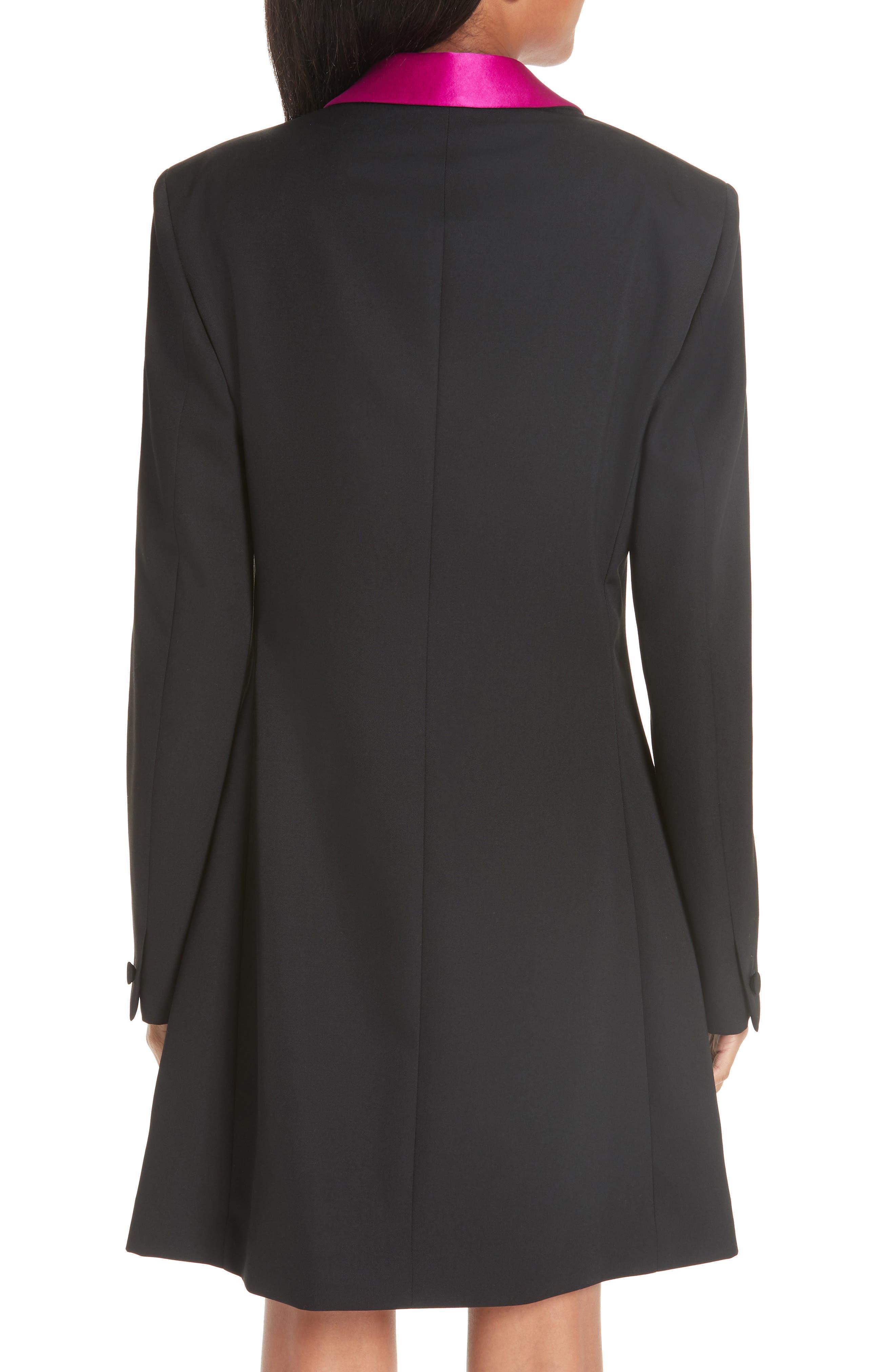 CALVIN KLEIN 205W39NYC, Contrast Lapel Wool Gabardine Jacket, Alternate thumbnail 2, color, BLACK DARK ORCHID
