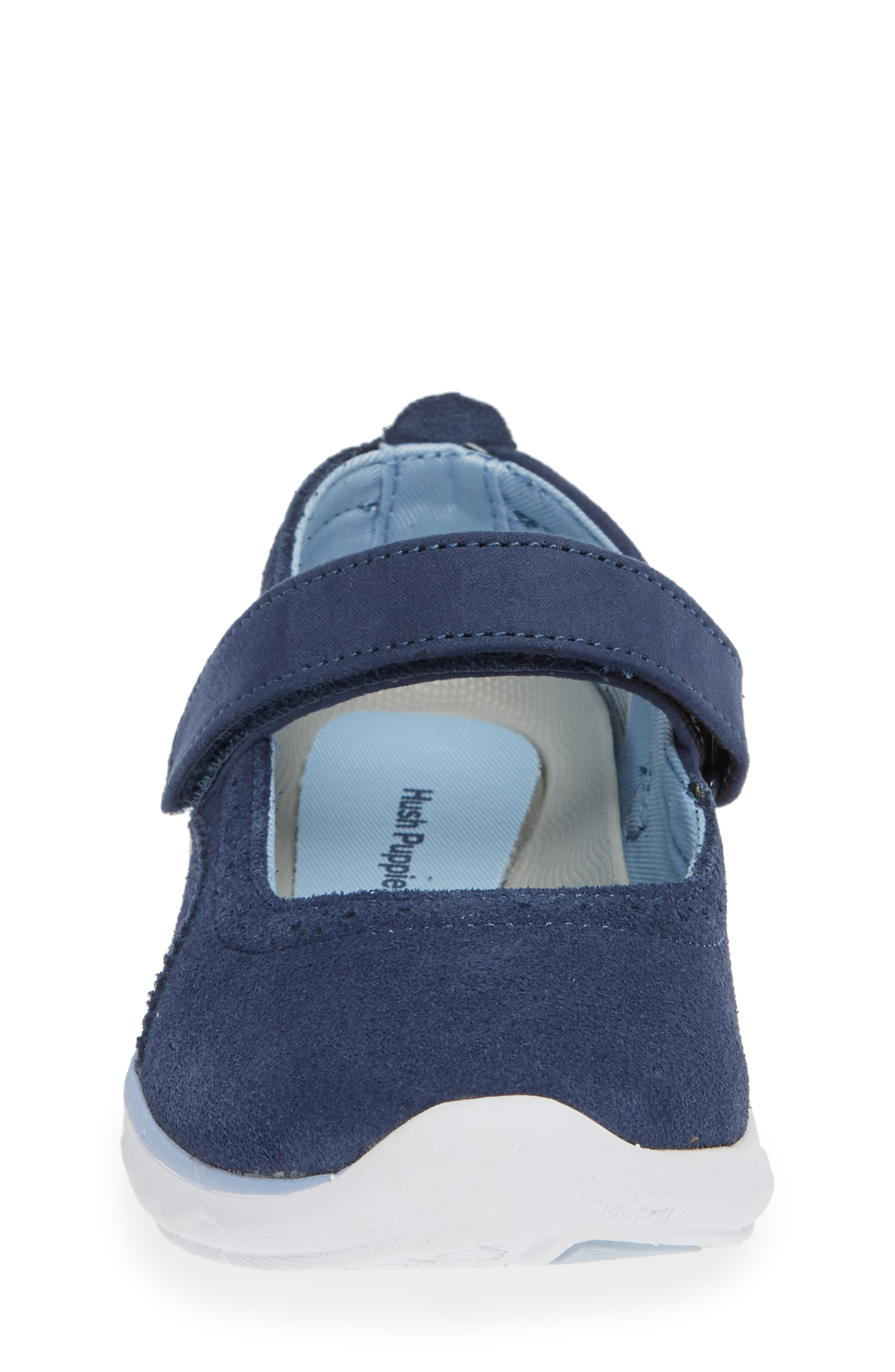HUSH PUPPIES<SUP>®</SUP>, Flote Tricia Mary Jane Flat, Alternate thumbnail 4, color, NAVY
