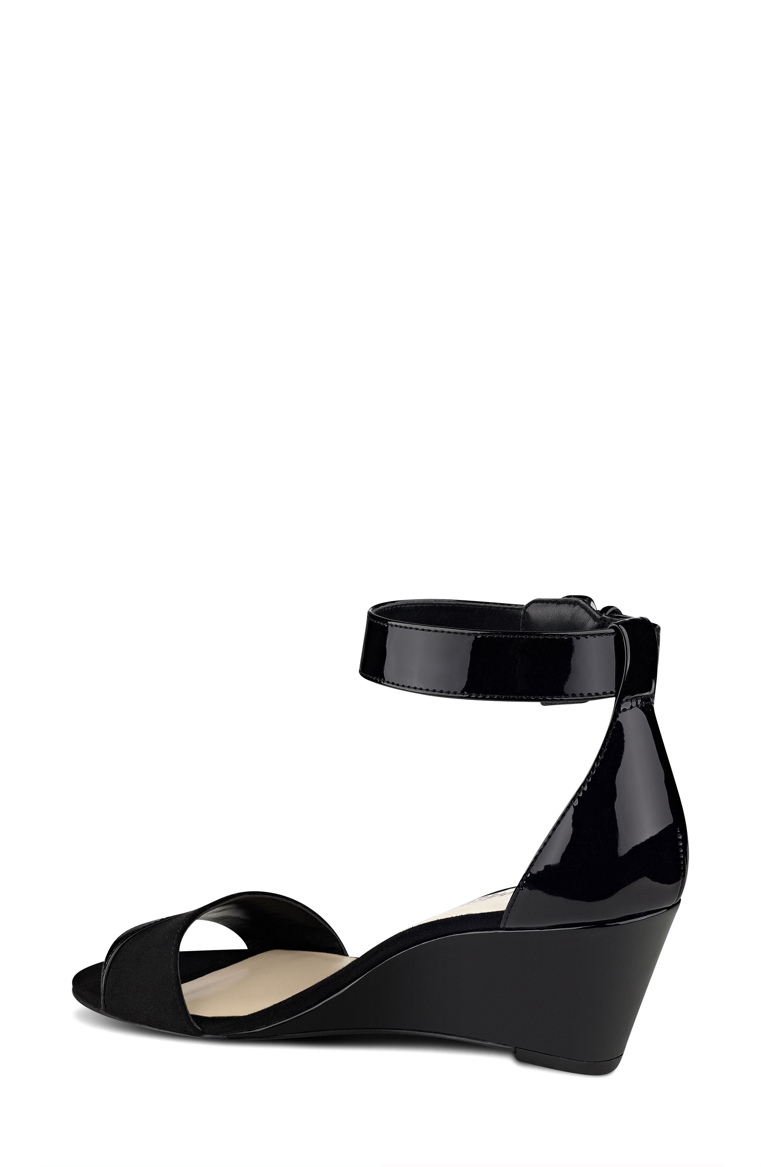 NINE WEST, Pretty Sis Ankle Strap Wedge, Alternate thumbnail 2, color, 001