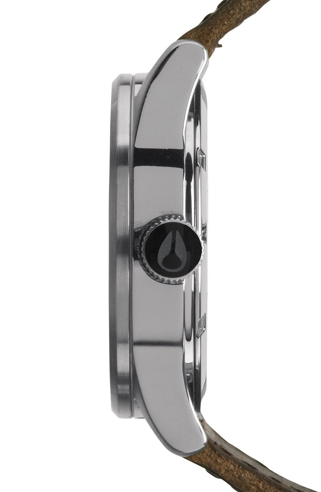 NIXON, The Sentry Leather Strap Watch, 42mm, Alternate thumbnail 6, color, SILVER/ BROWN