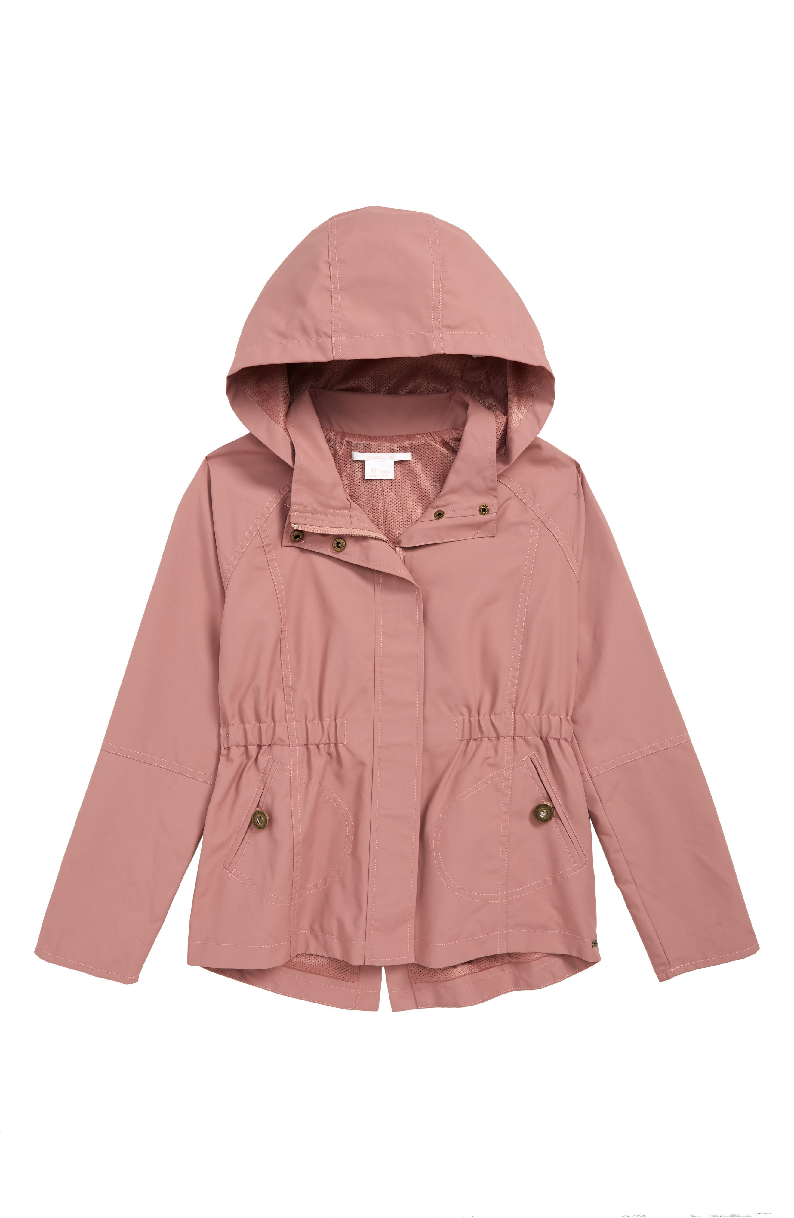 O'NEILL, Windy Water Resistant Hooded Jacket, Main thumbnail 1, color, DUSTY MAUVE
