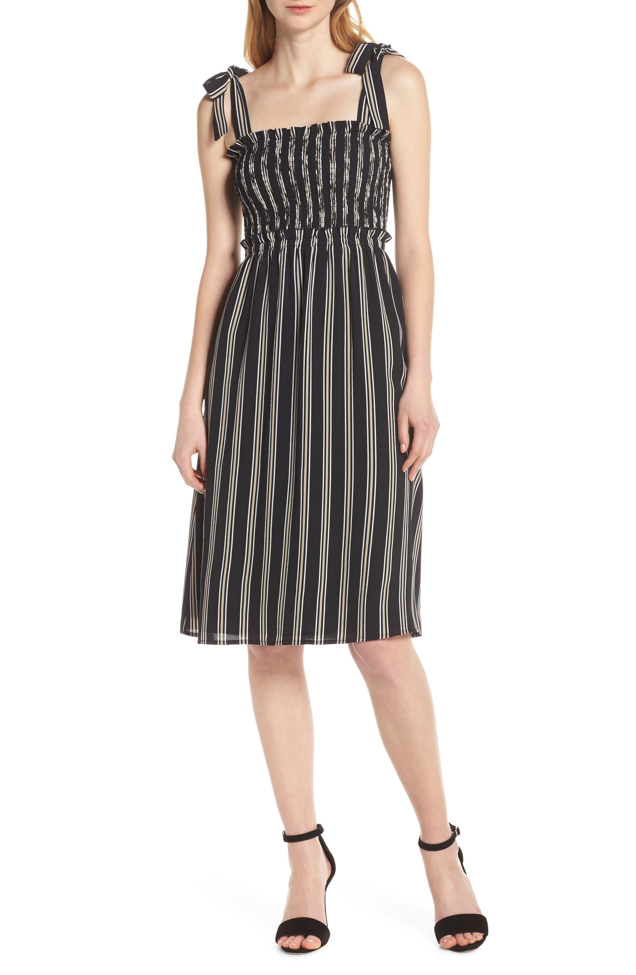 ALI & JAY, Tea for Two Crepe Dress, Main thumbnail 1, color, BLACK MULTI STRIPE