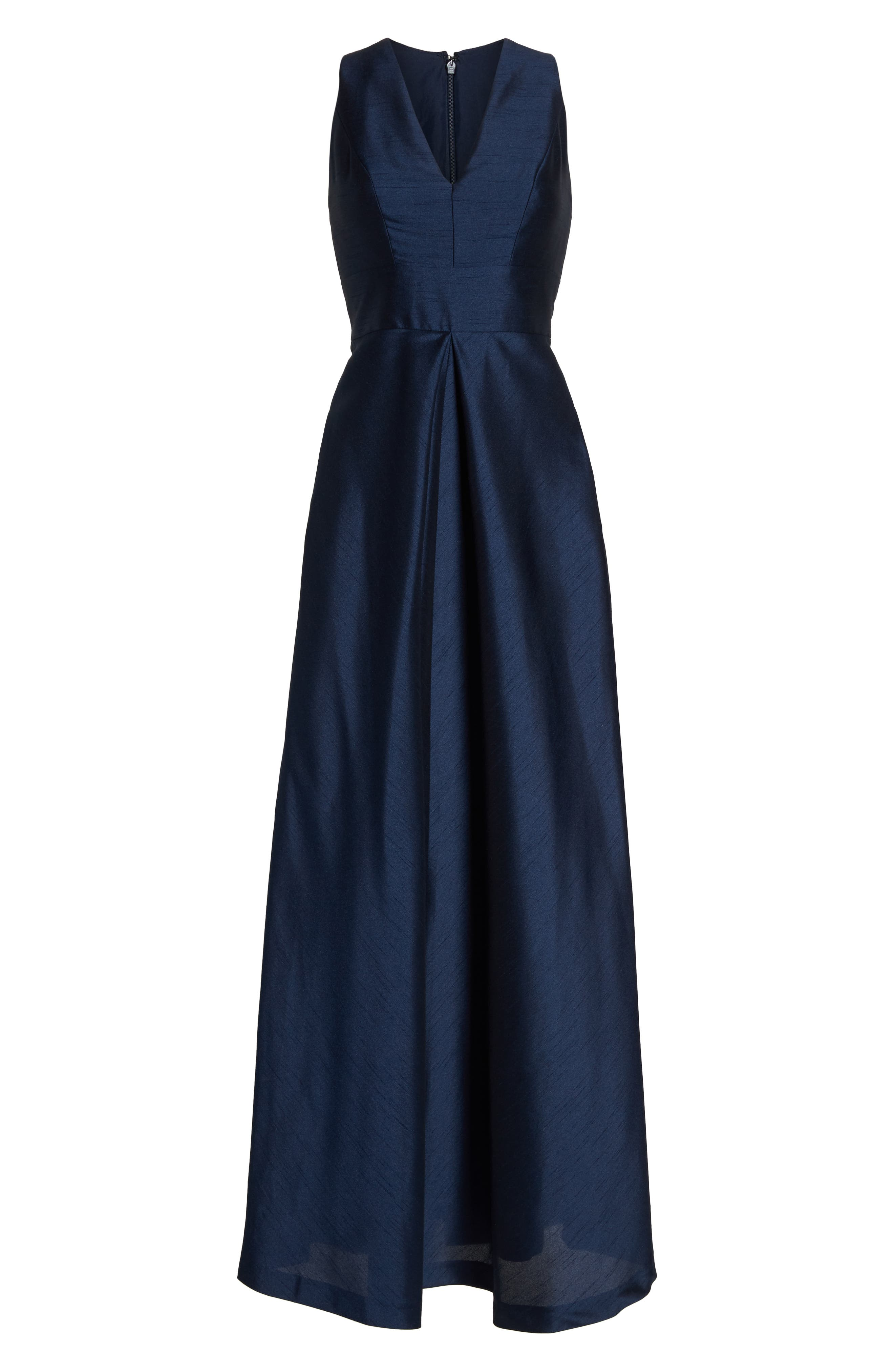 Plus Size Alfred Sung V-Neck Dupioni Evening Gown, Blue