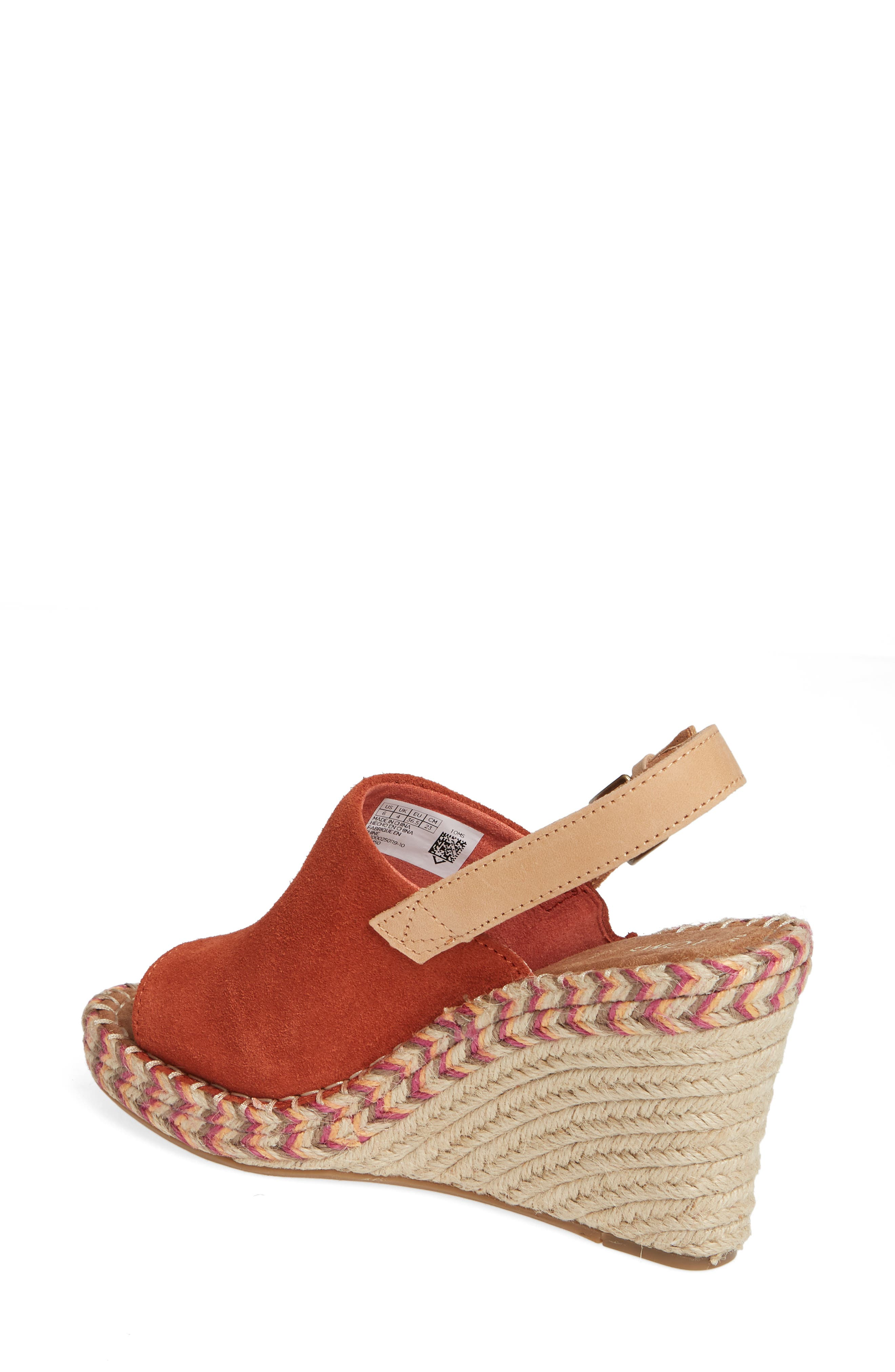 TOMS, Monica Slingback Wedge, Alternate thumbnail 2, color, SPICE SUEDE