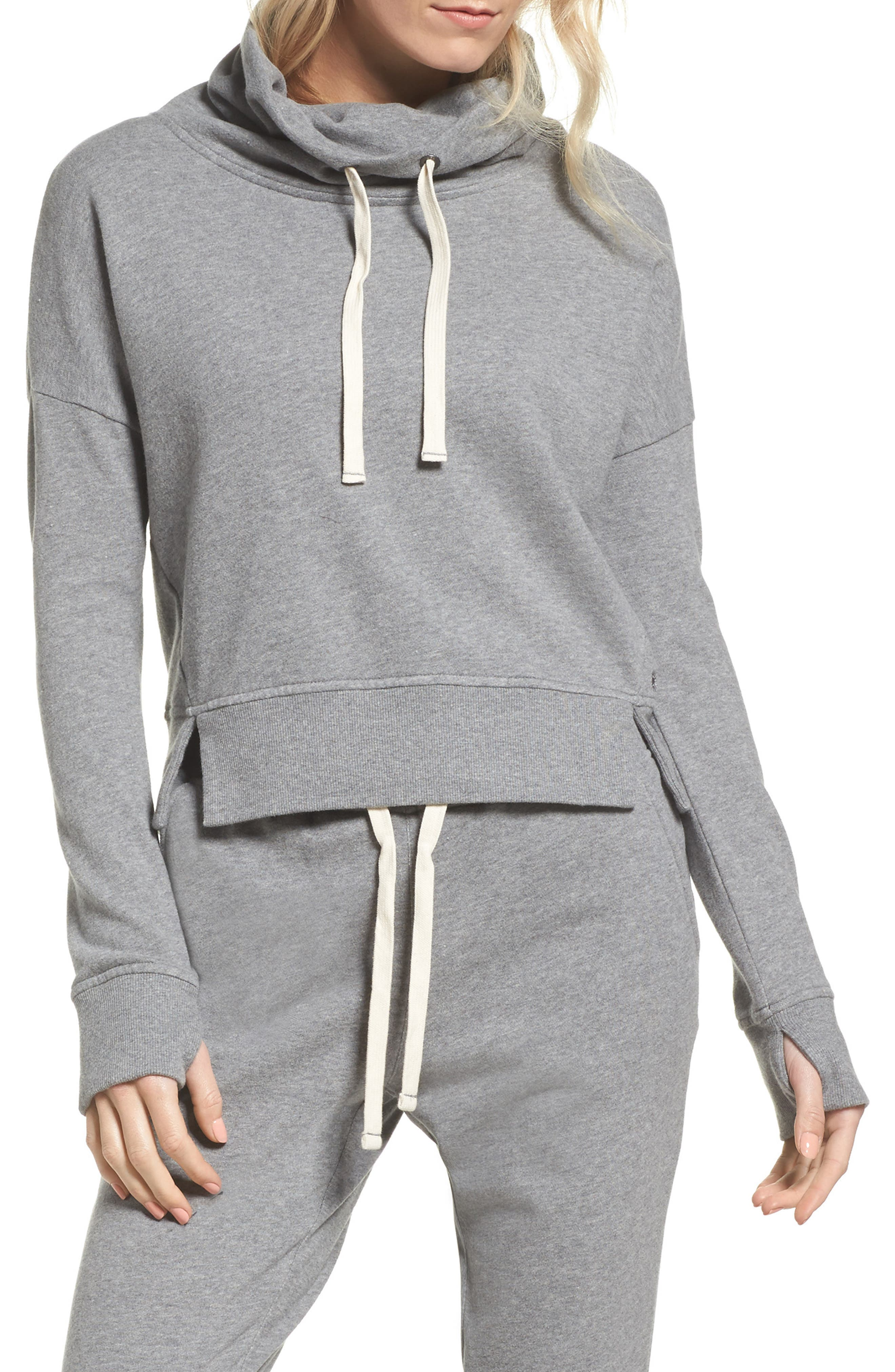 UGG<SUP>®</SUP>, Miya Funnel Neck Sweatshirt, Main thumbnail 1, color, GREY HEATHER