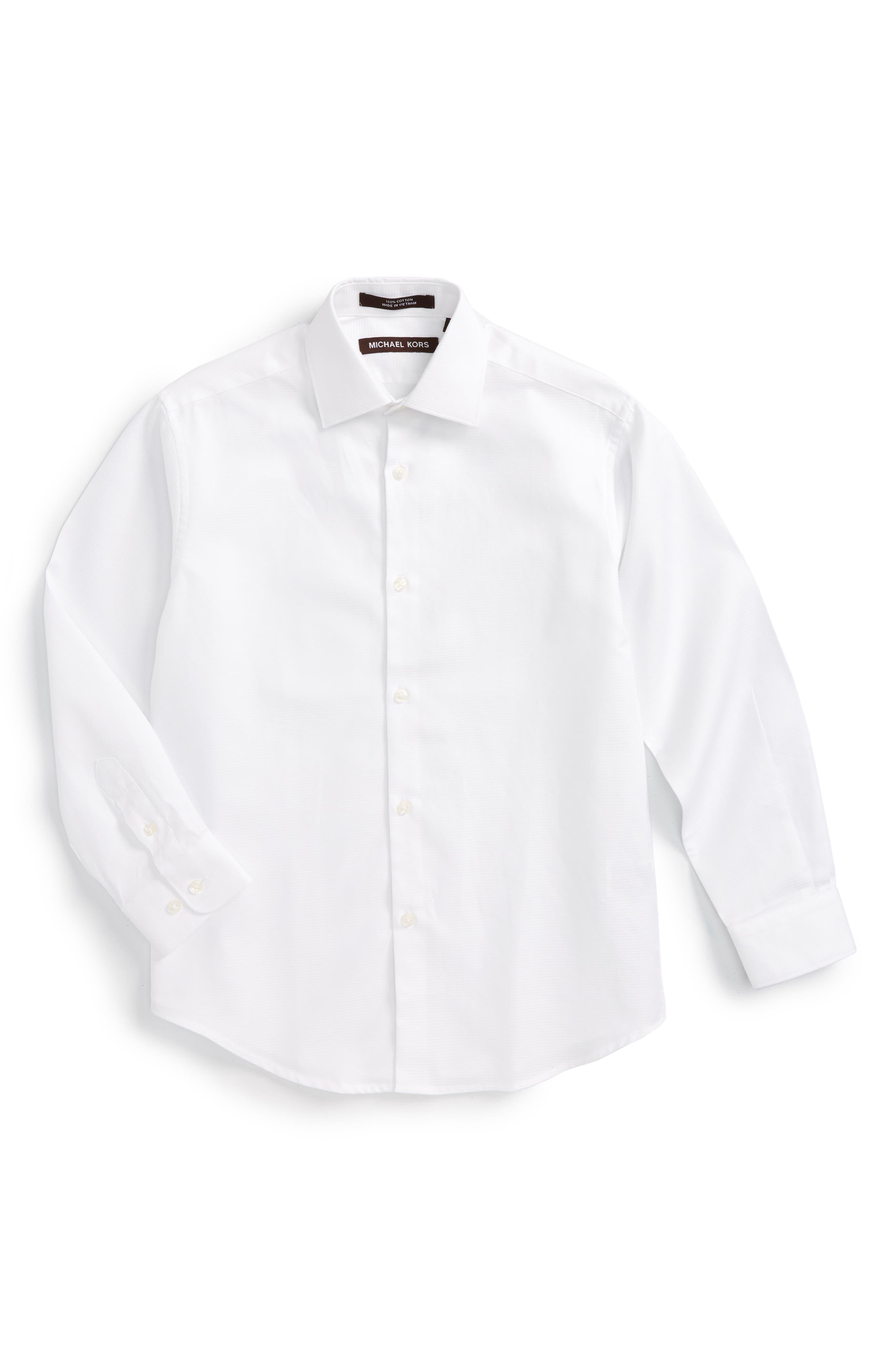 MICHAEL KORS, Solid Dress Shirt, Main thumbnail 1, color, WHITE