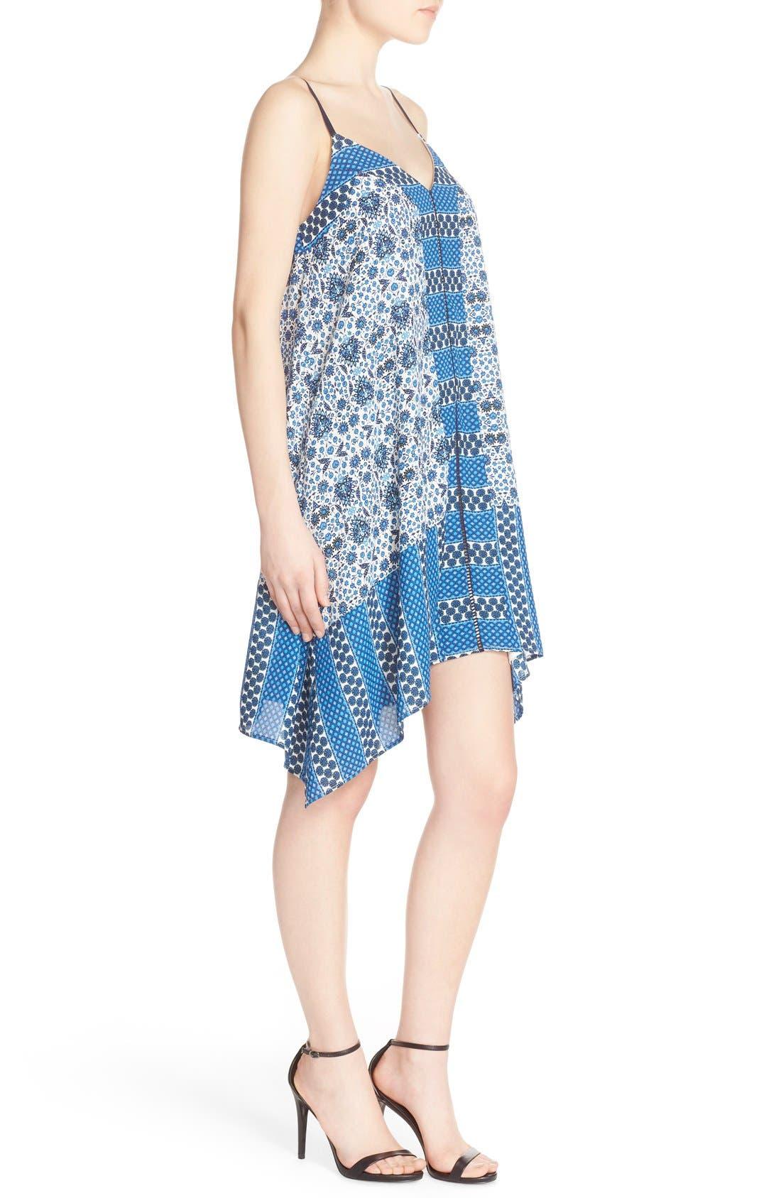 ADELYN RAE, Scarf Print Crepe Trapeze Dress, Alternate thumbnail 4, color, 400