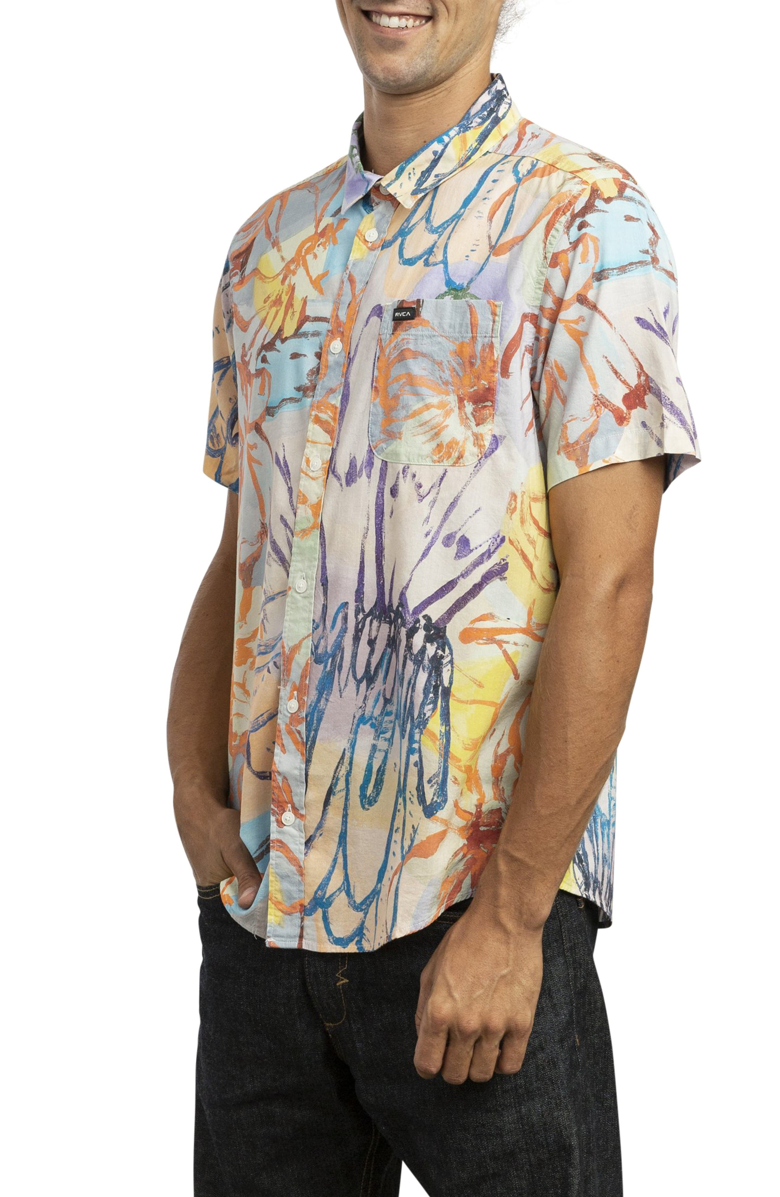 RVCA, Vaughn Woven Shirt, Alternate thumbnail 3, color, MULTI