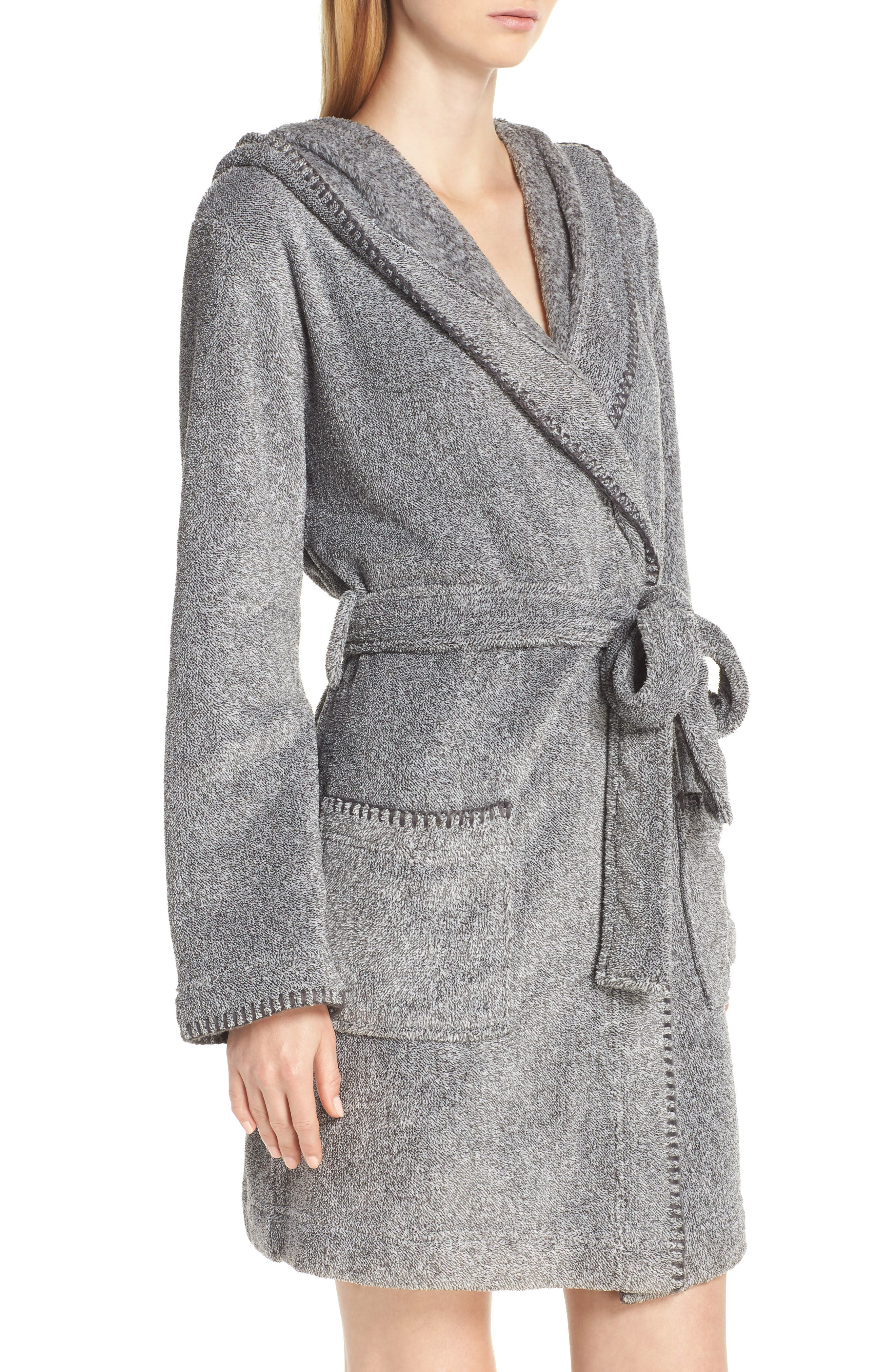 MAKE + MODEL, Starry Night Plush Short Robe, Alternate thumbnail 3, color, 022
