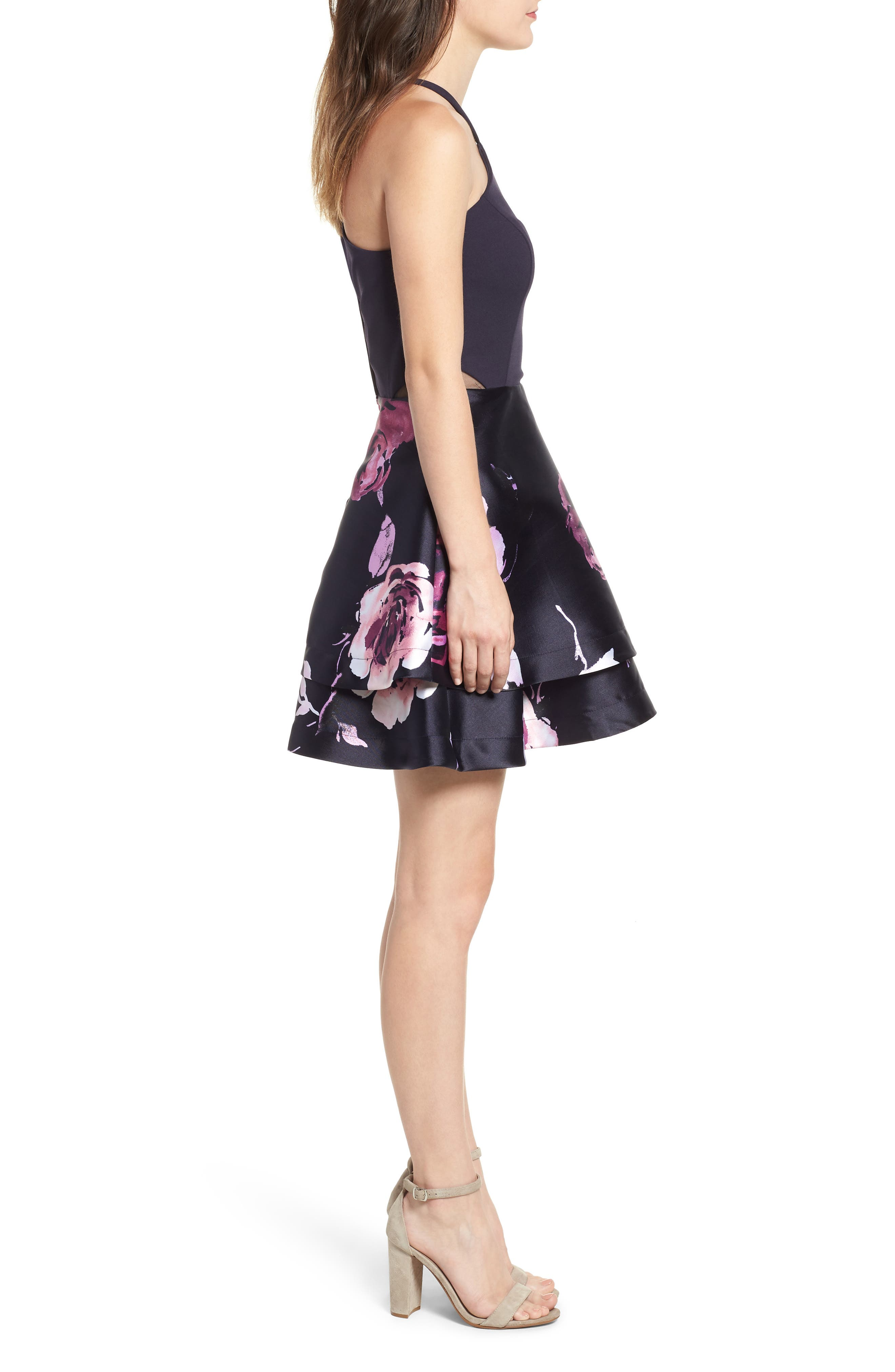 SPEECHLESS, Floral Fit & Flare Dress, Alternate thumbnail 4, color, NAVY/ BLUSH