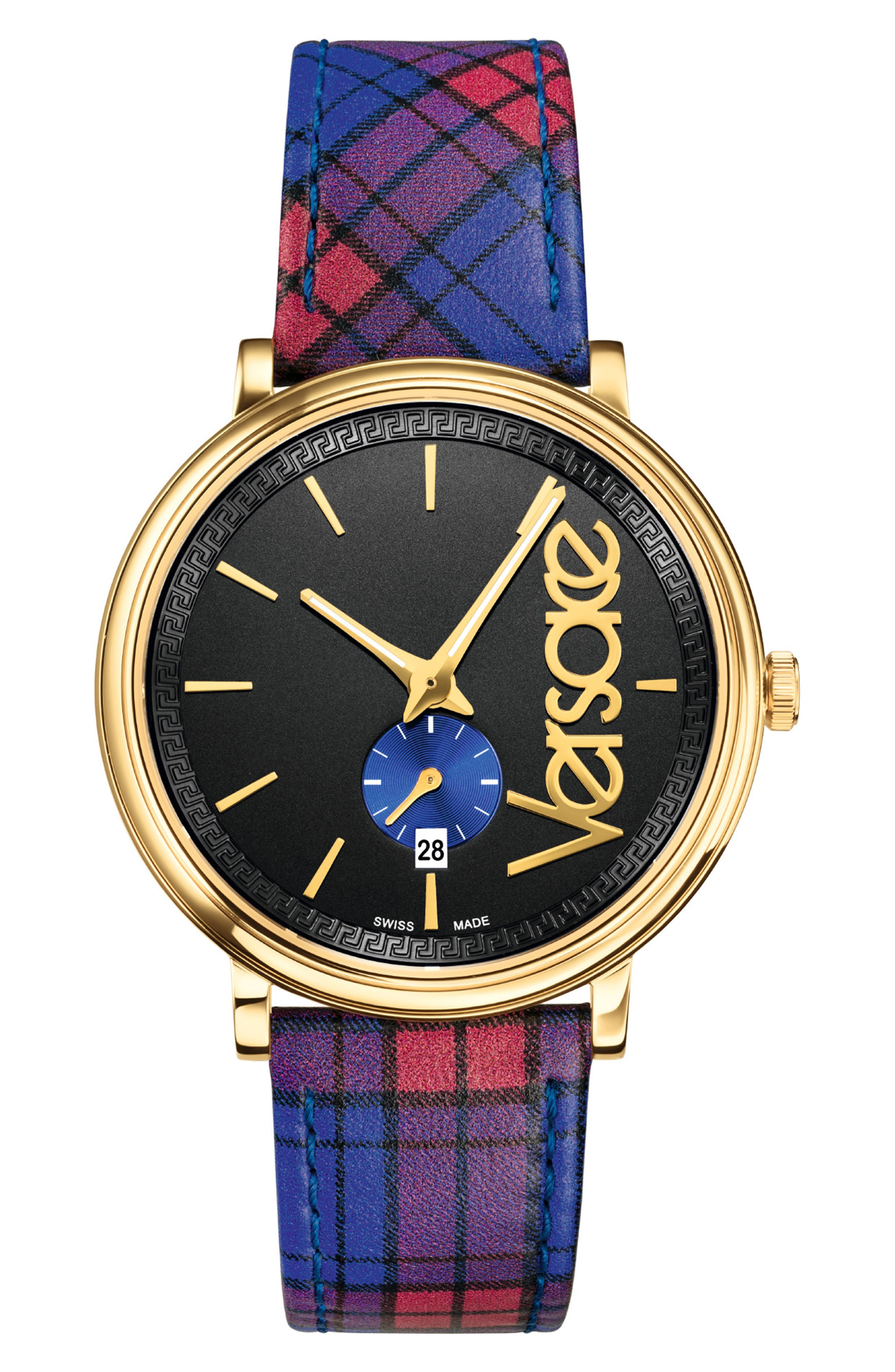VERSACE V Circle Clans Edition Leather Strap Watch, 42mm, Main, color, TARTAN RED/ BLACK/ GOLD