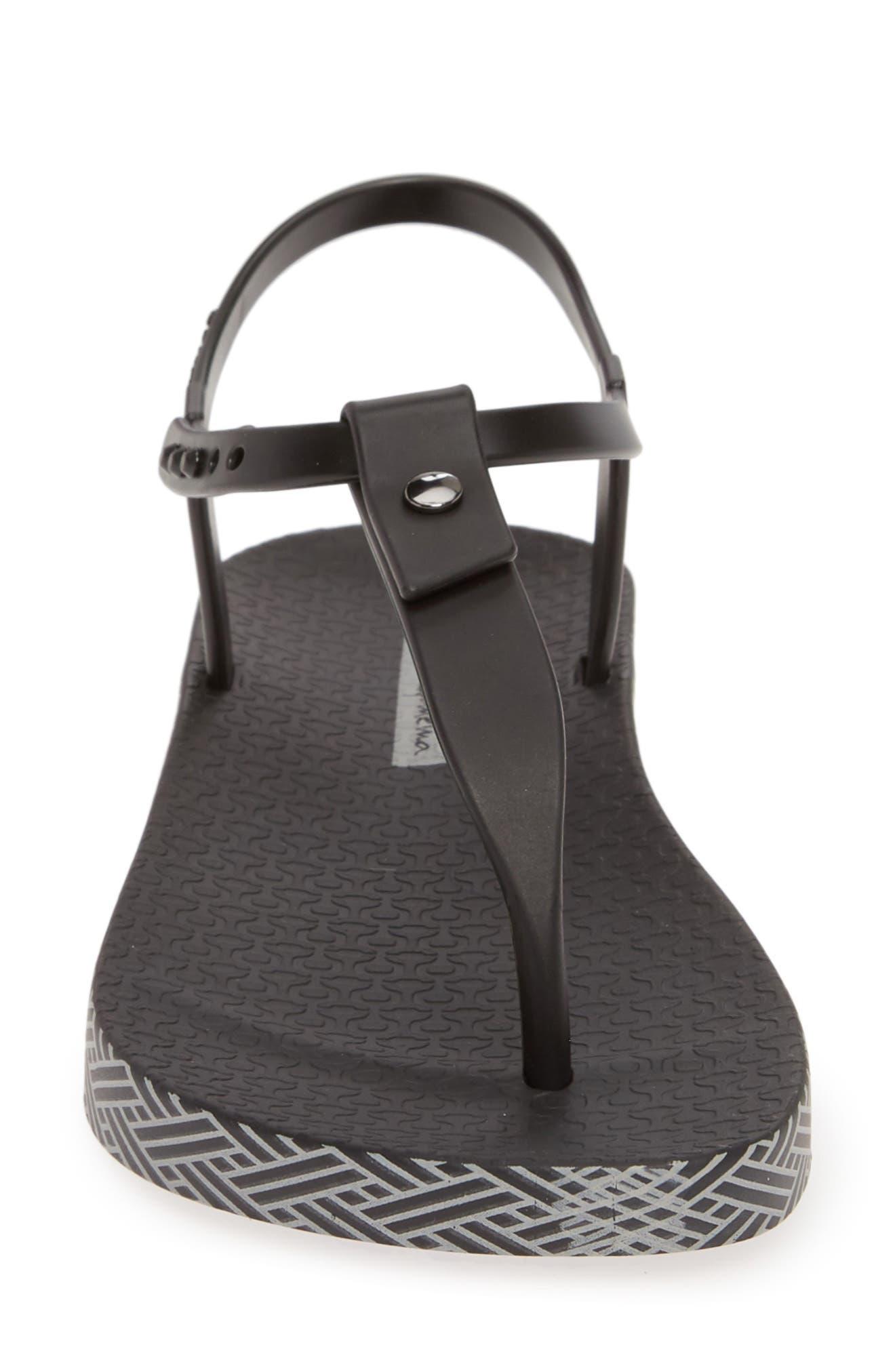 IPANEMA, Plush Weave T-Strap Sandal, Alternate thumbnail 4, color, BLACK