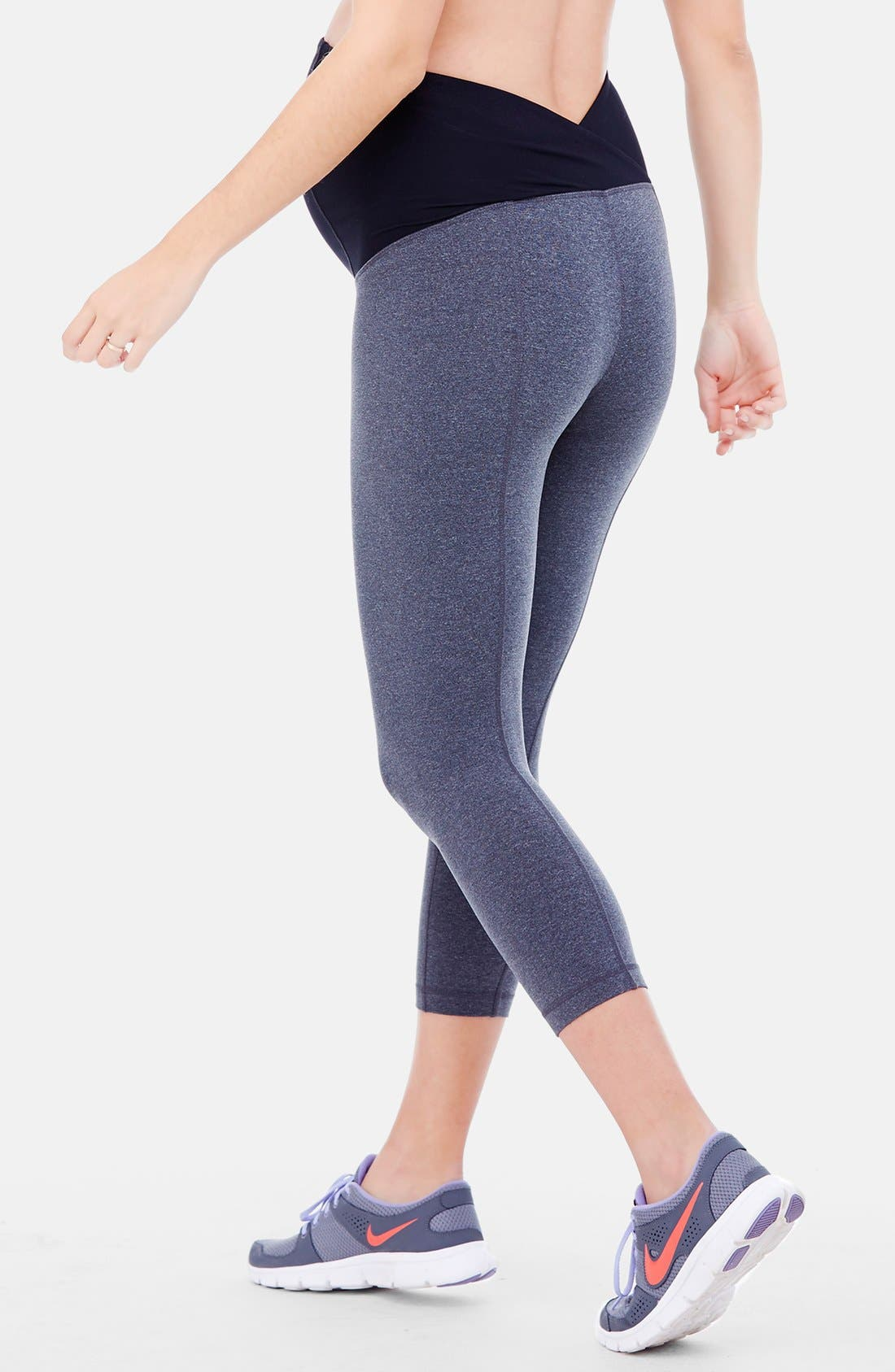 INGRID & ISABEL<SUP>®</SUP>, Active Maternity Capri Pants with Crossover Panel, Alternate thumbnail 5, color, DARK HEATHER GREY