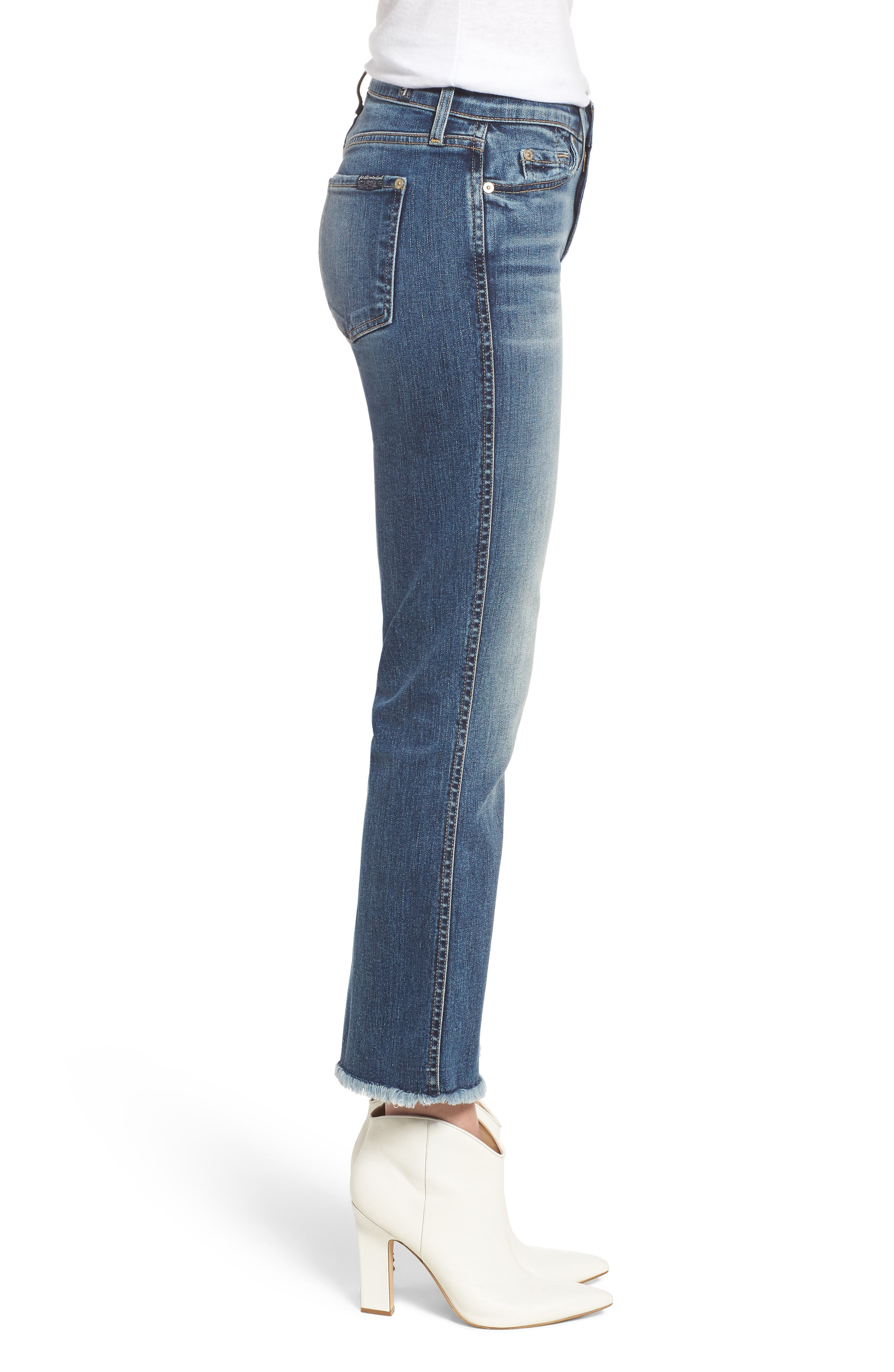 7 FOR ALL MANKIND<SUP>®</SUP>, High Waist Fray Crop Bootcut Jeans, Alternate thumbnail 4, color, 400