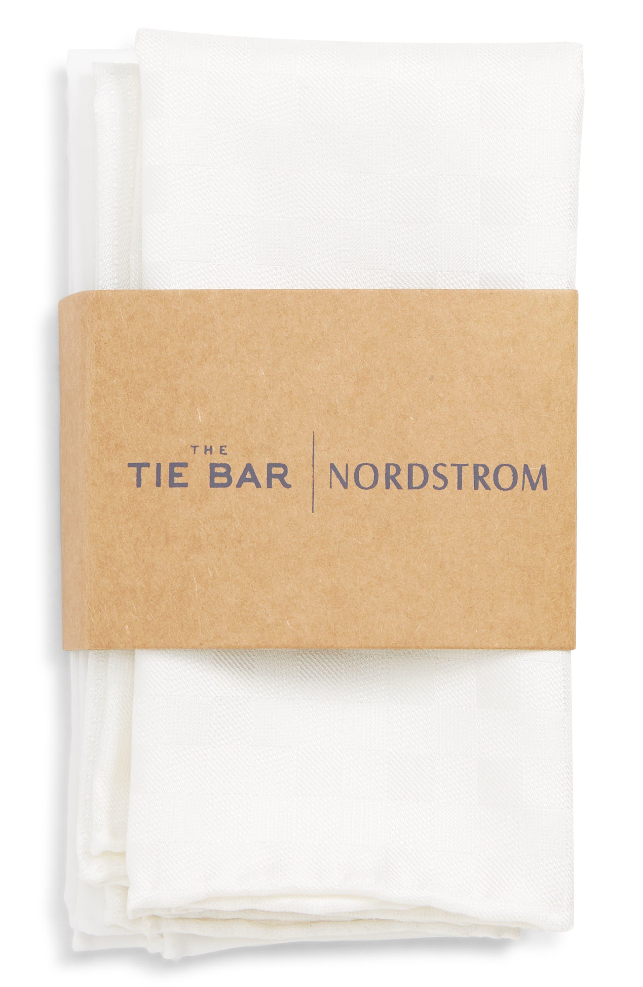 THE TIE BAR, 3-Pack Pocket Squares, Alternate thumbnail 2, color, WHITE