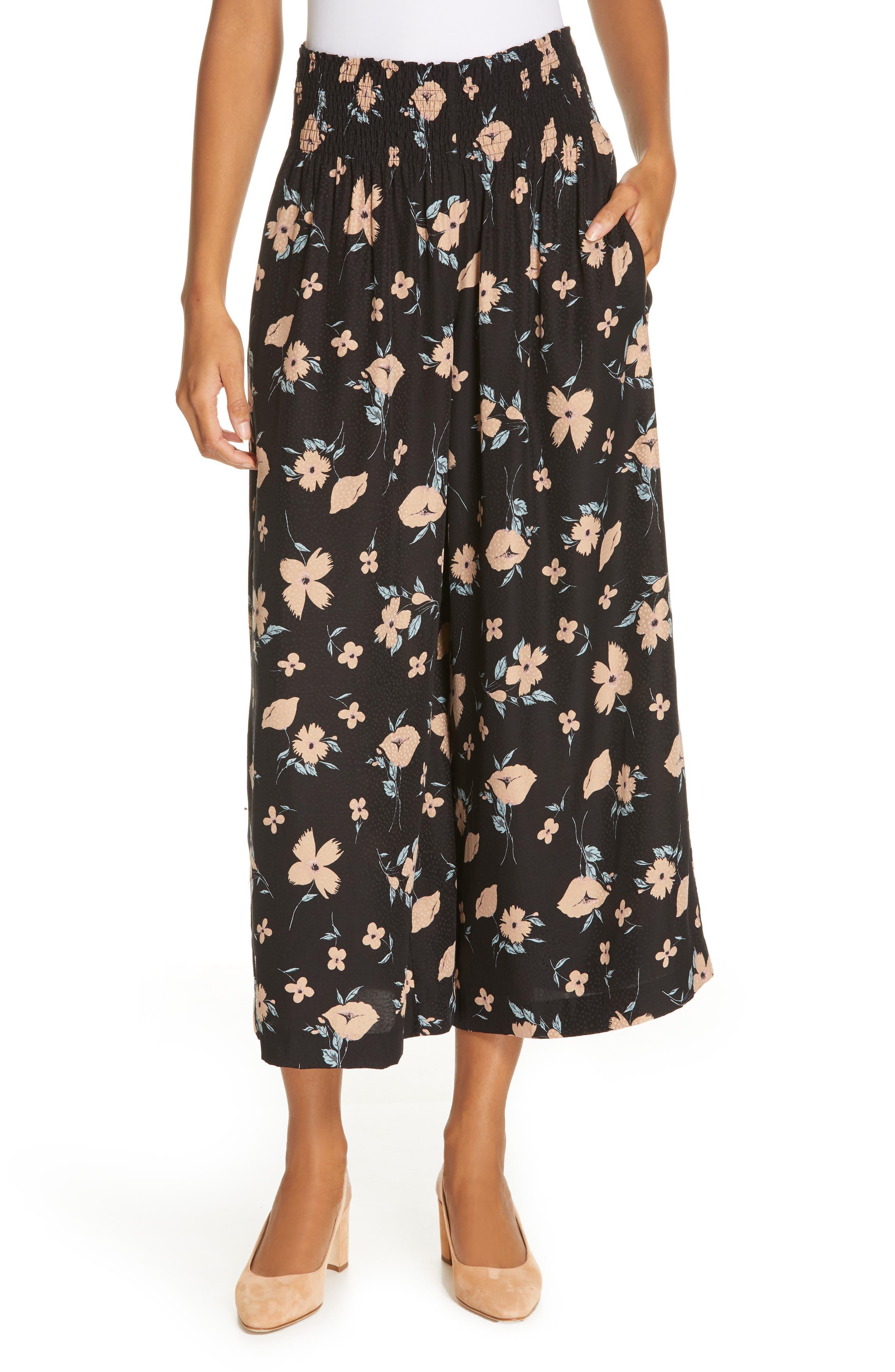REBECCA TAYLOR Daniella Smocked Pants, Main, color, BLACK COMBO