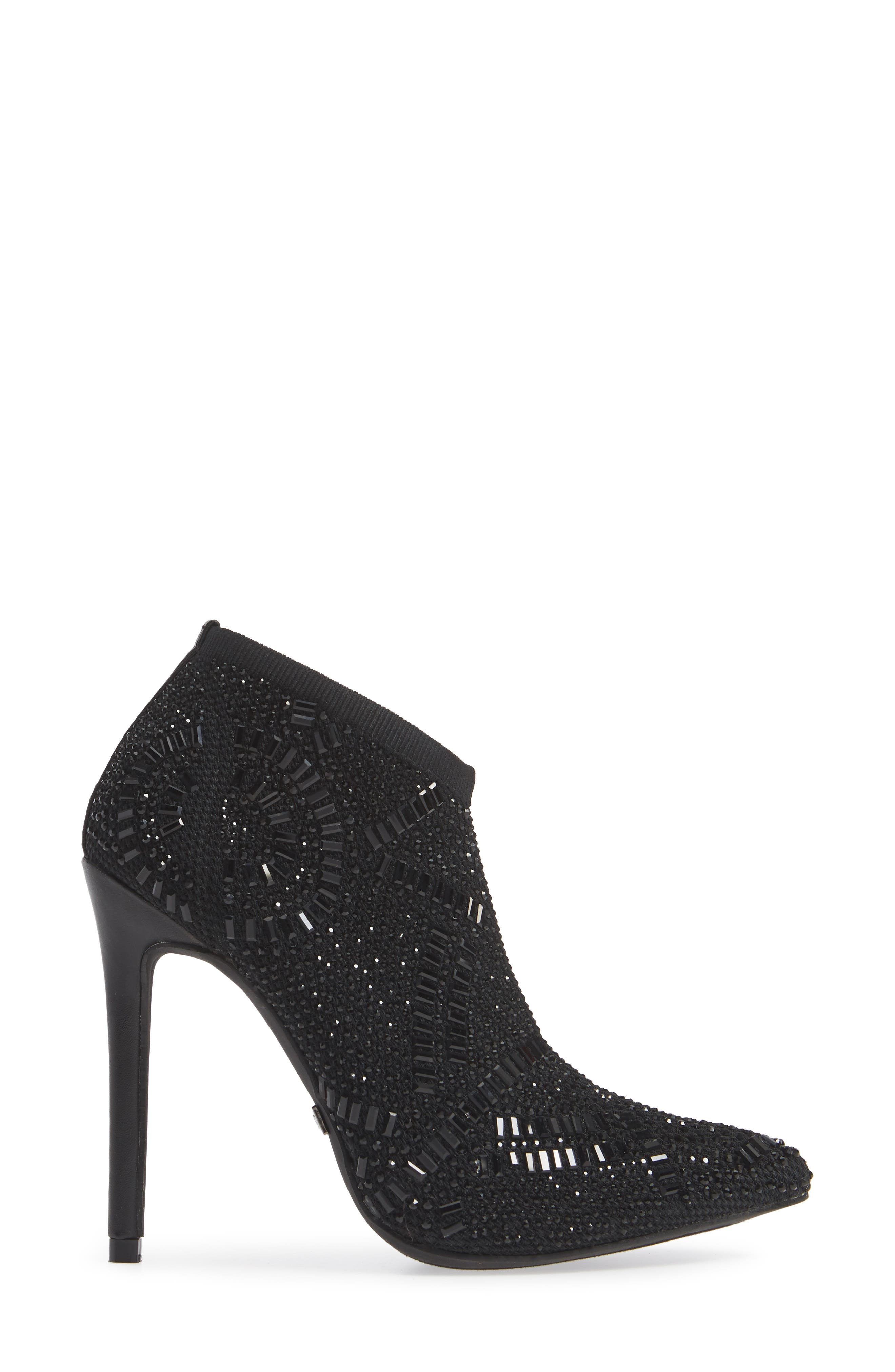LAUREN LORRAINE, Sarah Crystal Embellished Bootie, Alternate thumbnail 3, color, BLACK FABRIC