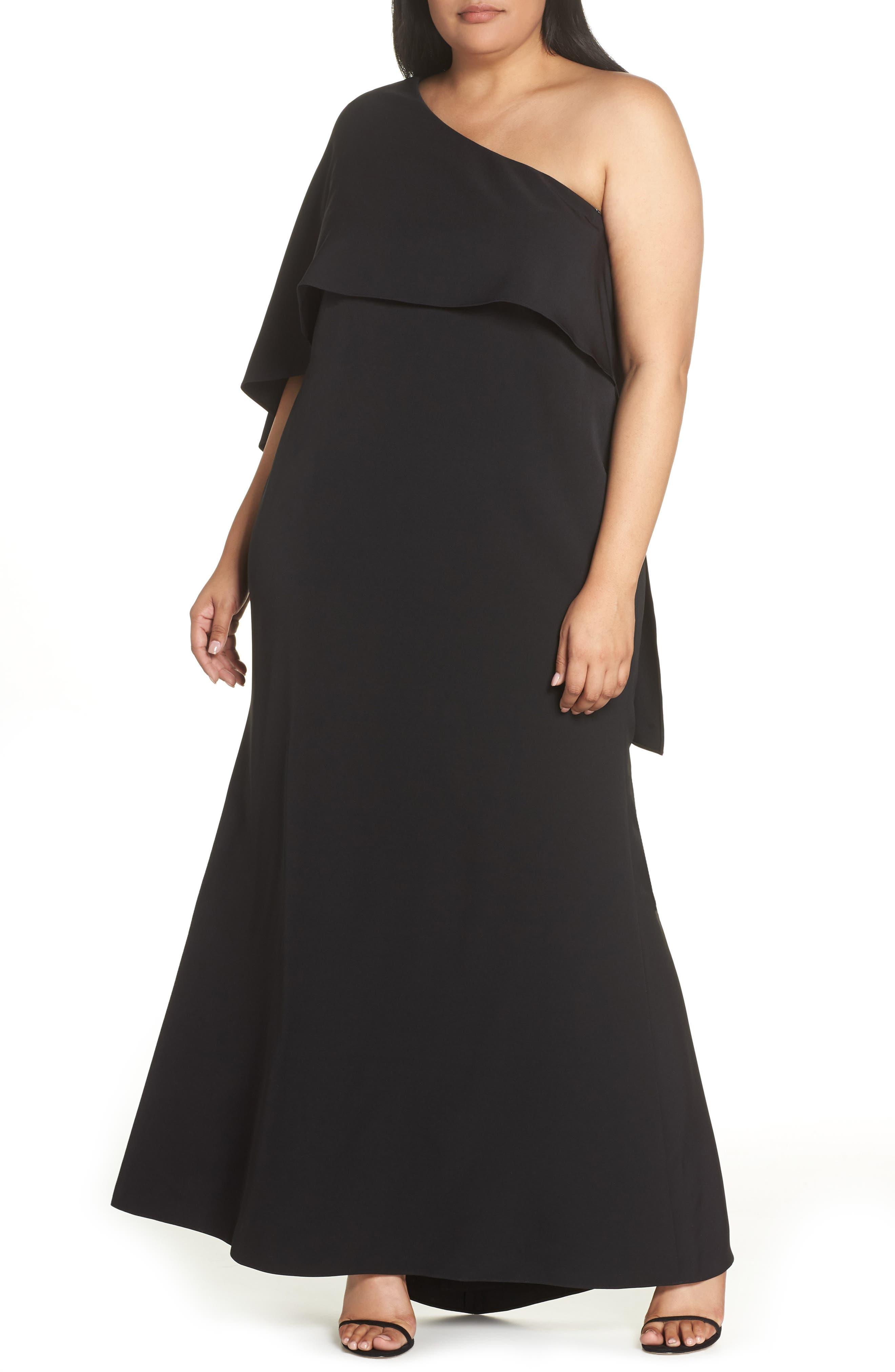 VINCE CAMUTO, One-Shoulder Cape Gown, Main thumbnail 1, color, BLACK