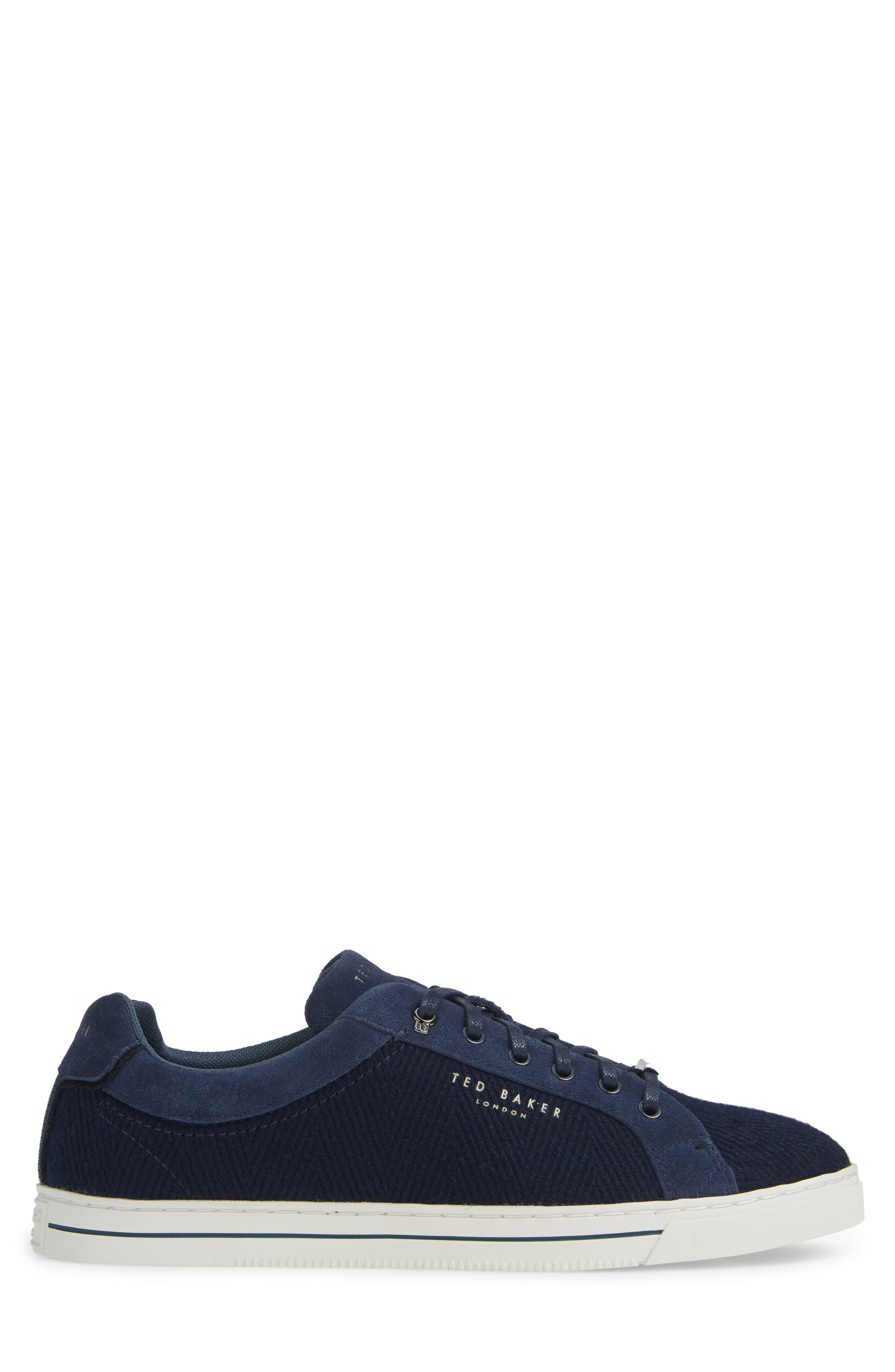 TED BAKER LONDON, Werill Sneaker, Alternate thumbnail 3, color, DARK BLUE WOOL