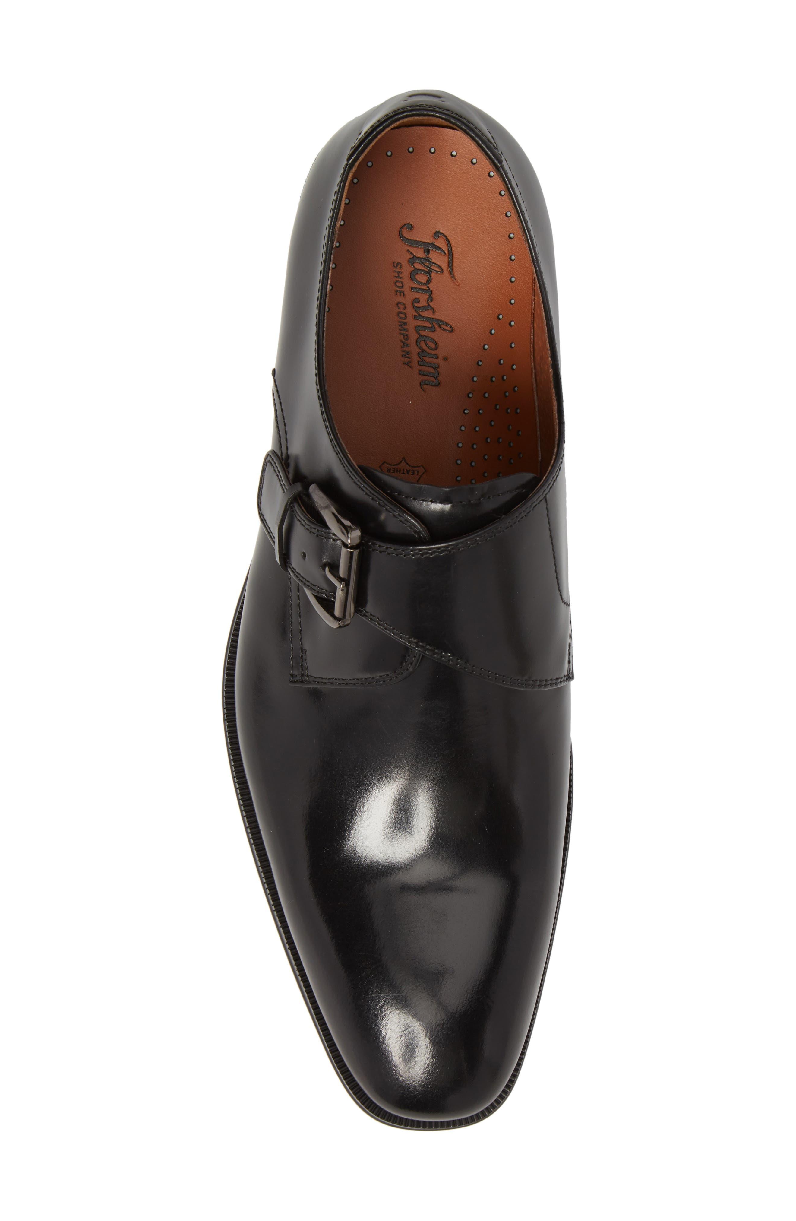 FLORSHEIM, Belfast Single Strap Monk Shoe, Alternate thumbnail 5, color, BLACK LEATHER