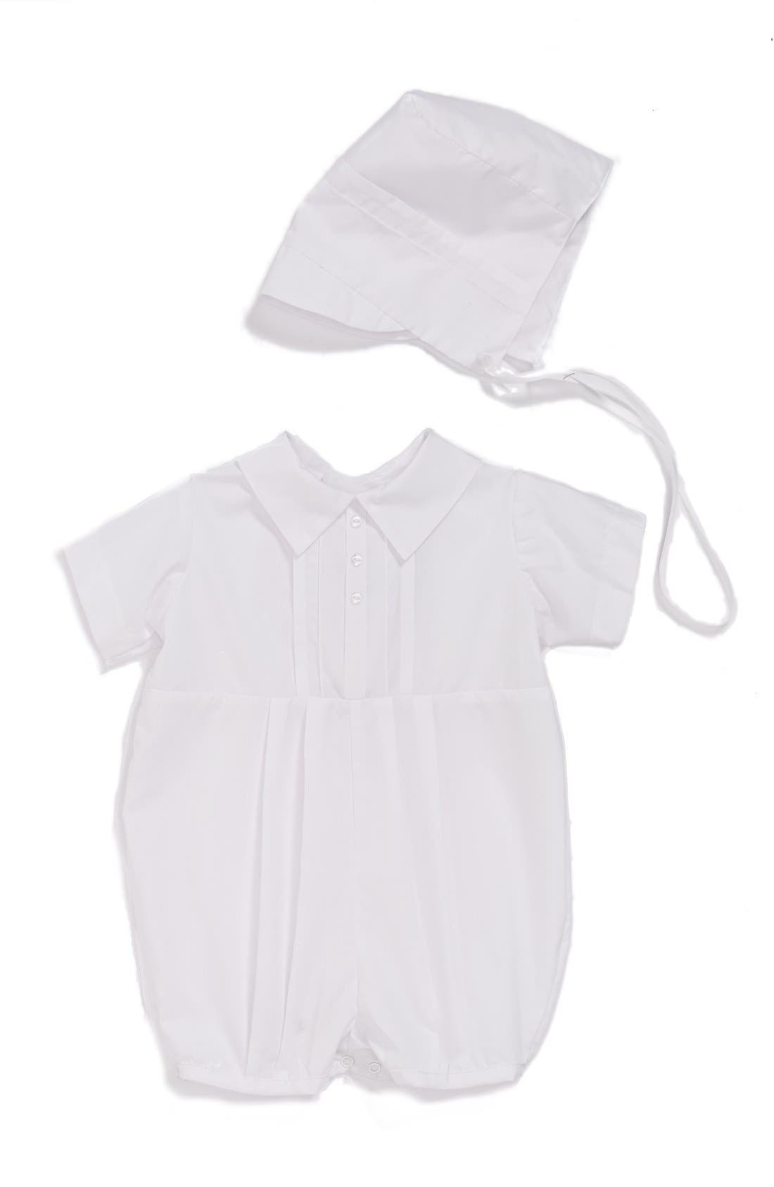 LITTLE THINGS MEAN A LOT, Christening Romper & Hat Set, Main thumbnail 1, color, WHITE
