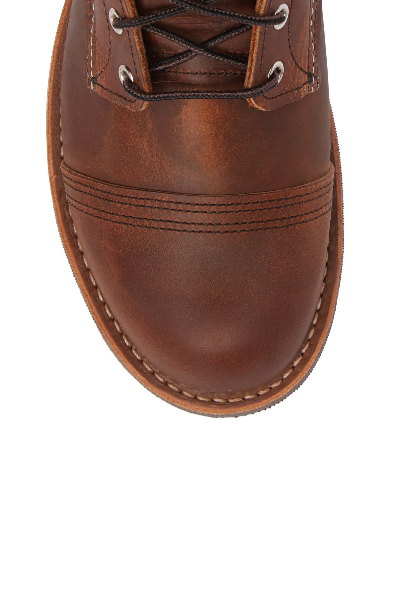 RED WING, Iron Ranger Cap Toe Boot, Alternate thumbnail 5, color, COPPER LEATHER