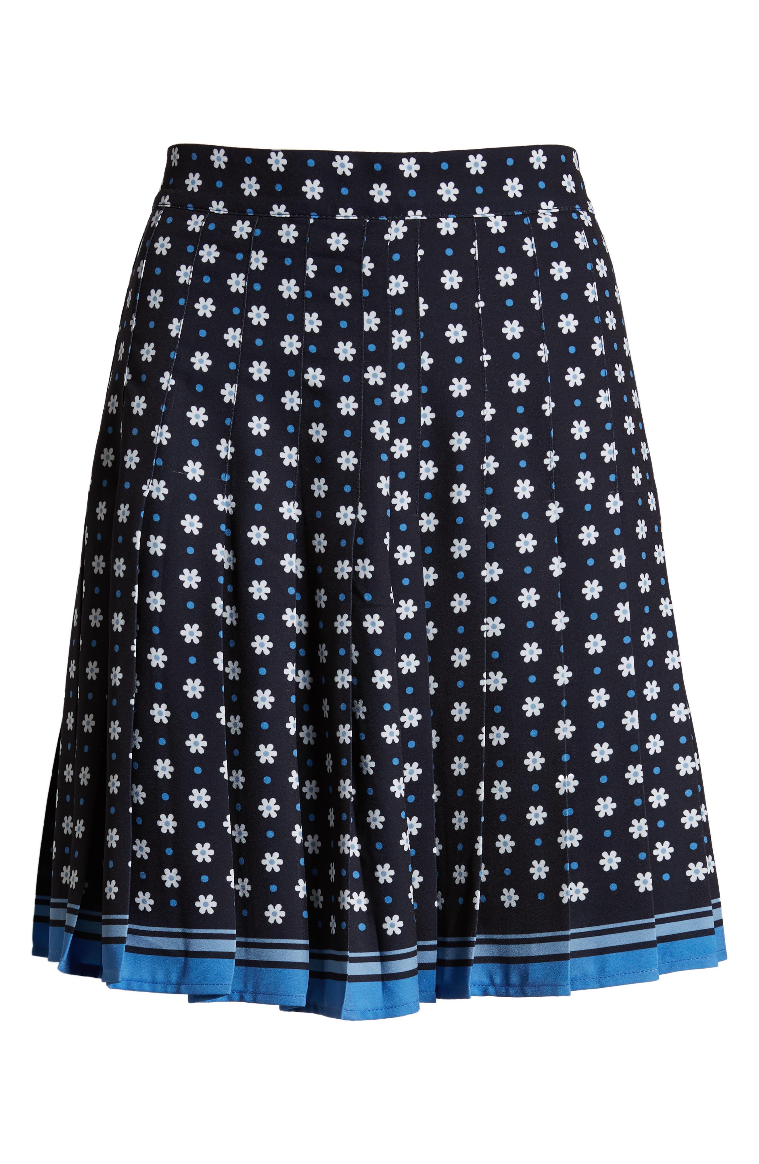 1901, Pleated Tennis Skirt, Alternate thumbnail 6, color, NAVY NIGHT DAISY DOT