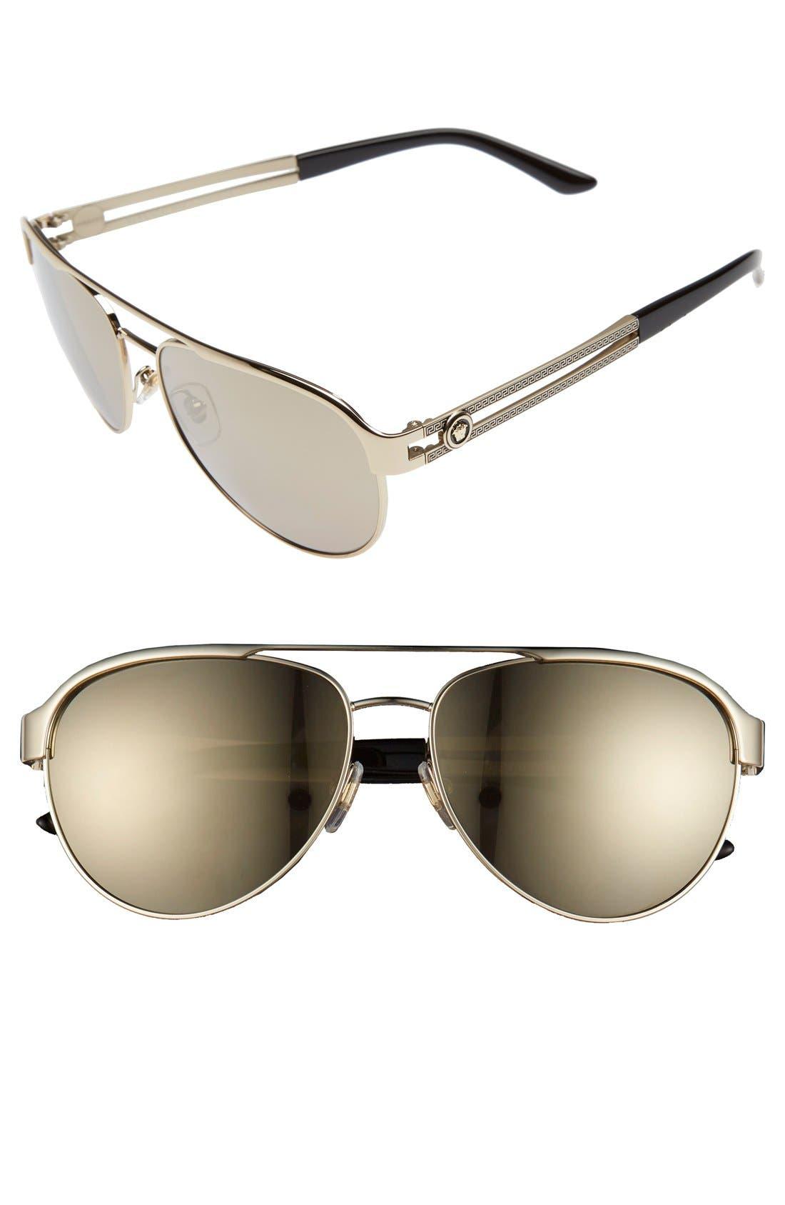 8659d56361aa Women s Versace 58Mm Aviator Sunglasses - Pale Gold
