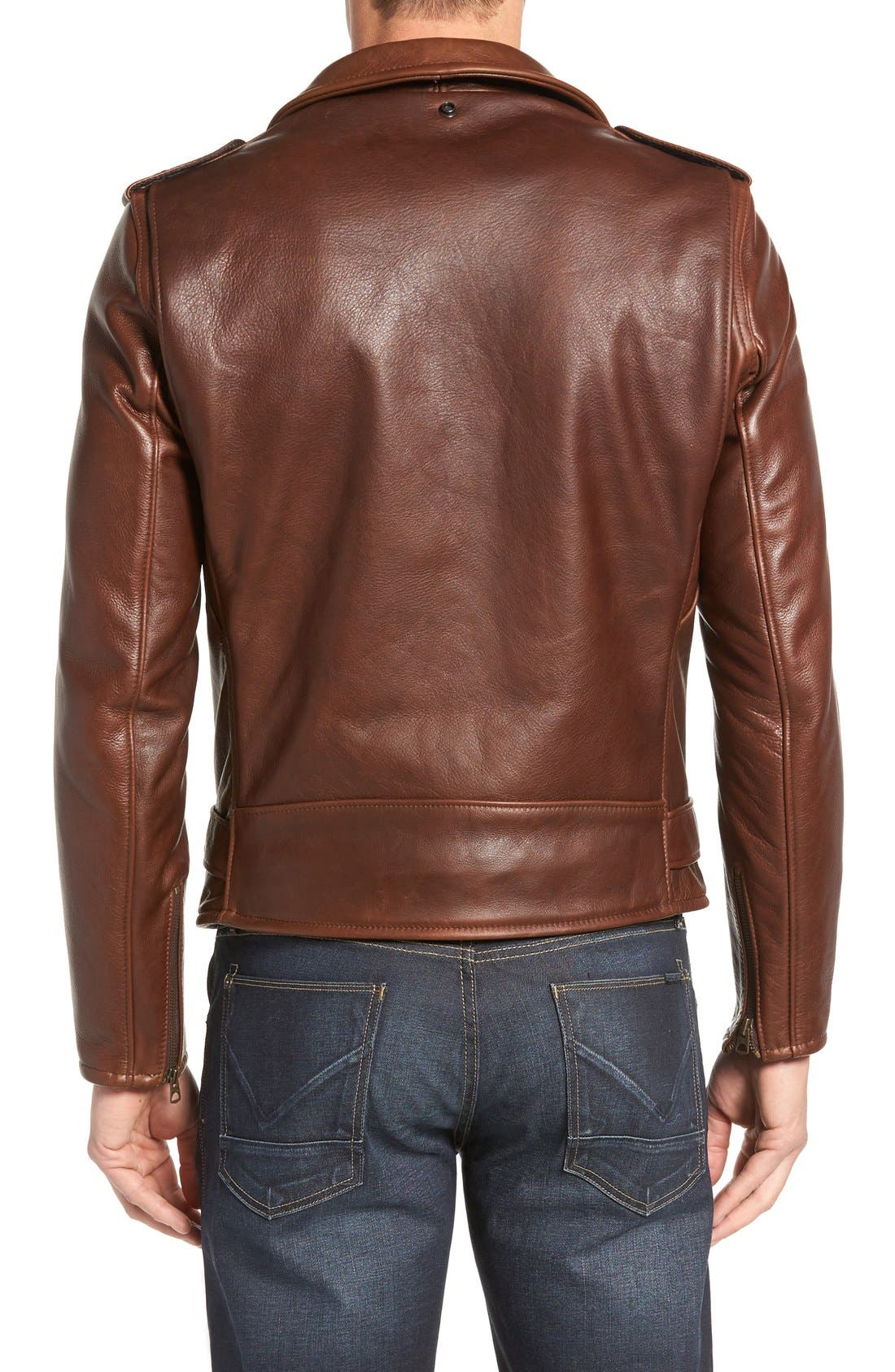 SCHOTT NYC, '50s Oil Tanned Cowhide Leather Moto Jacket, Alternate thumbnail 7, color, BROWN