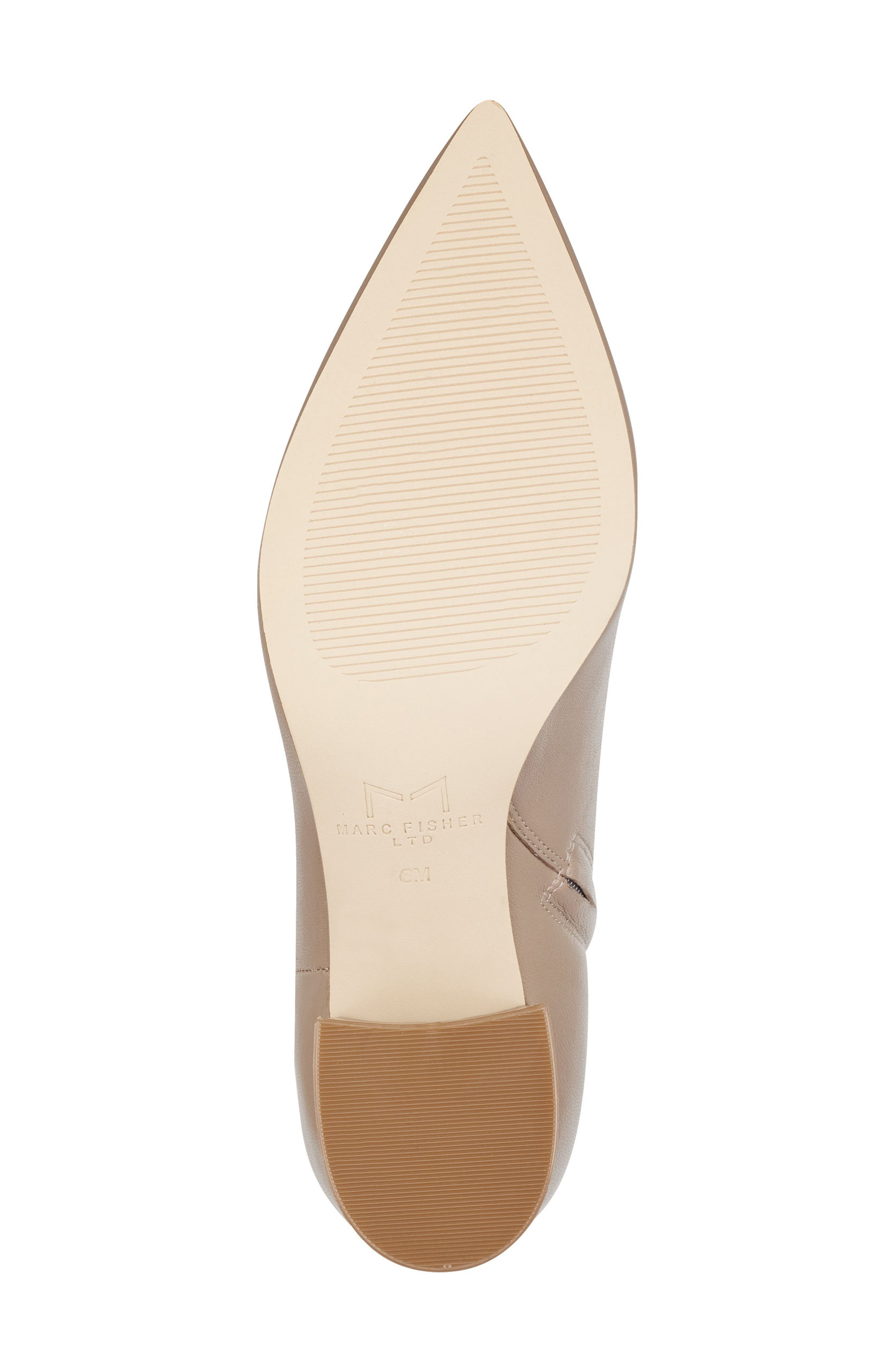 MARC FISHER LTD, Jarli Bootie, Alternate thumbnail 6, color, TAUPE LEATHER