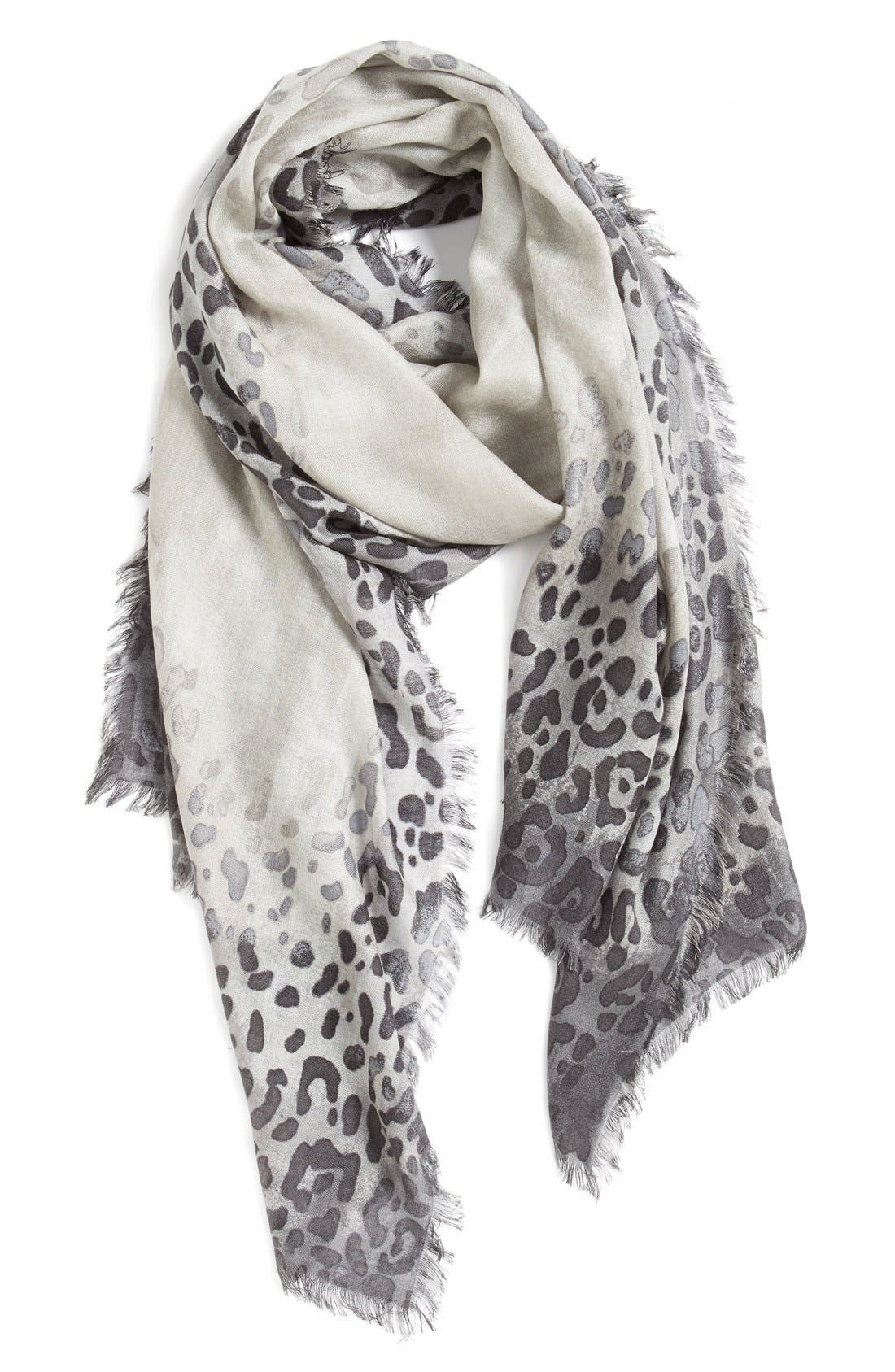 NORDSTROM, Leopard Print Cashmere & Silk Scarf, Main thumbnail 1, color, 020