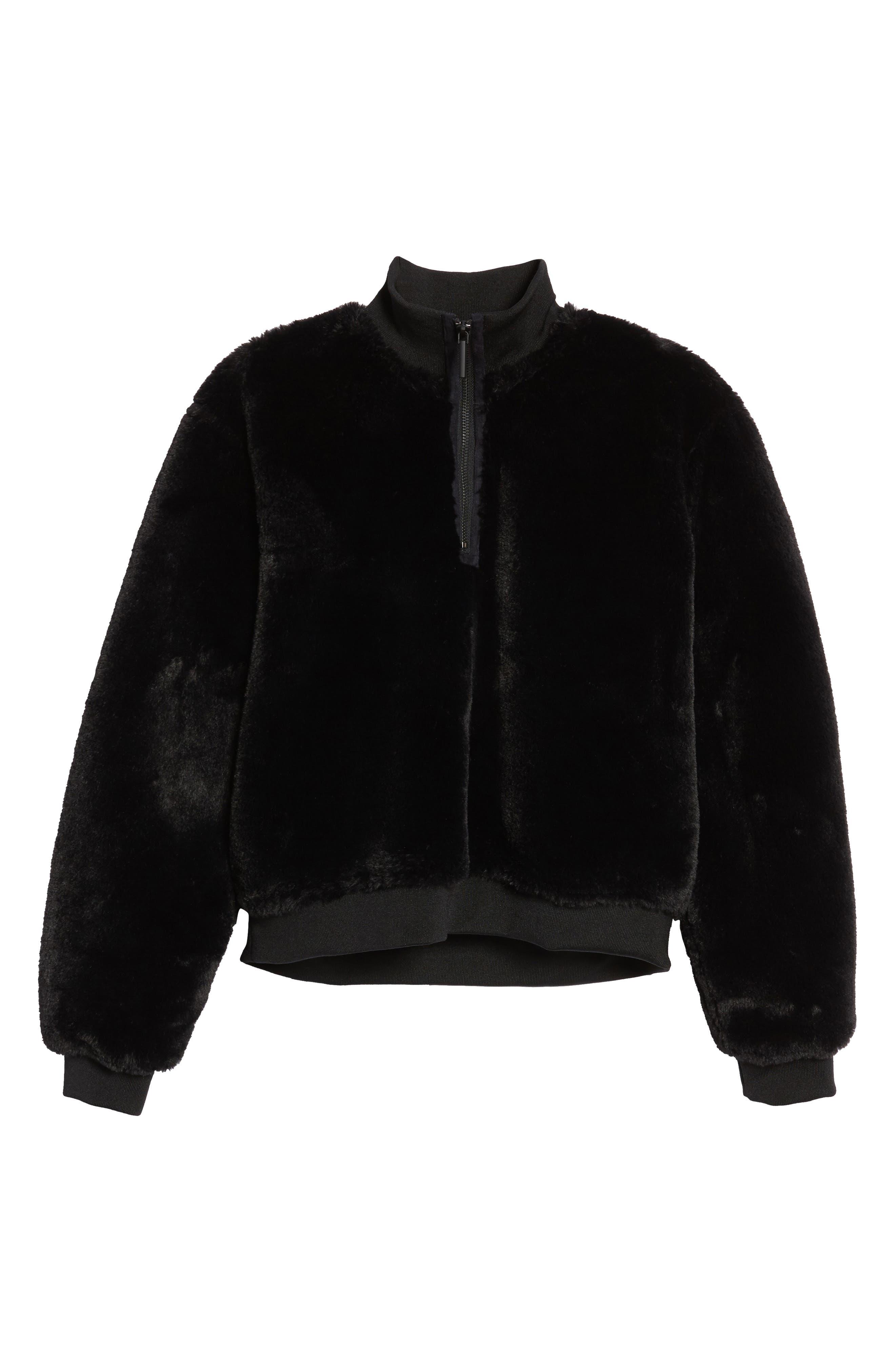 KENNETH COLE NEW YORK, Half-Zip Faux Fur Sweatshirt, Alternate thumbnail 6, color, BLACK