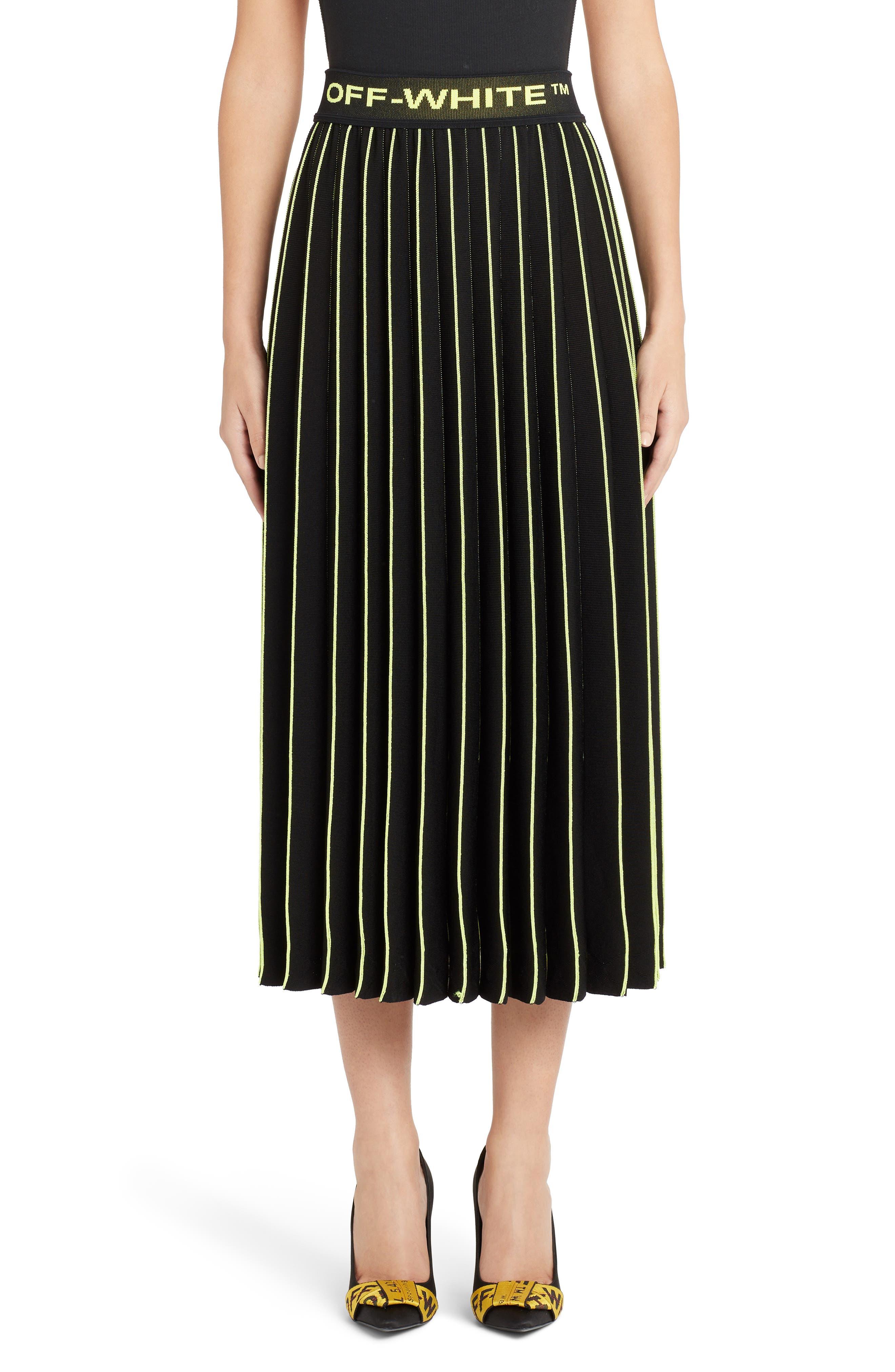 OFF-WHITE, Plissé Sweater Skirt, Main thumbnail 1, color, BLACK