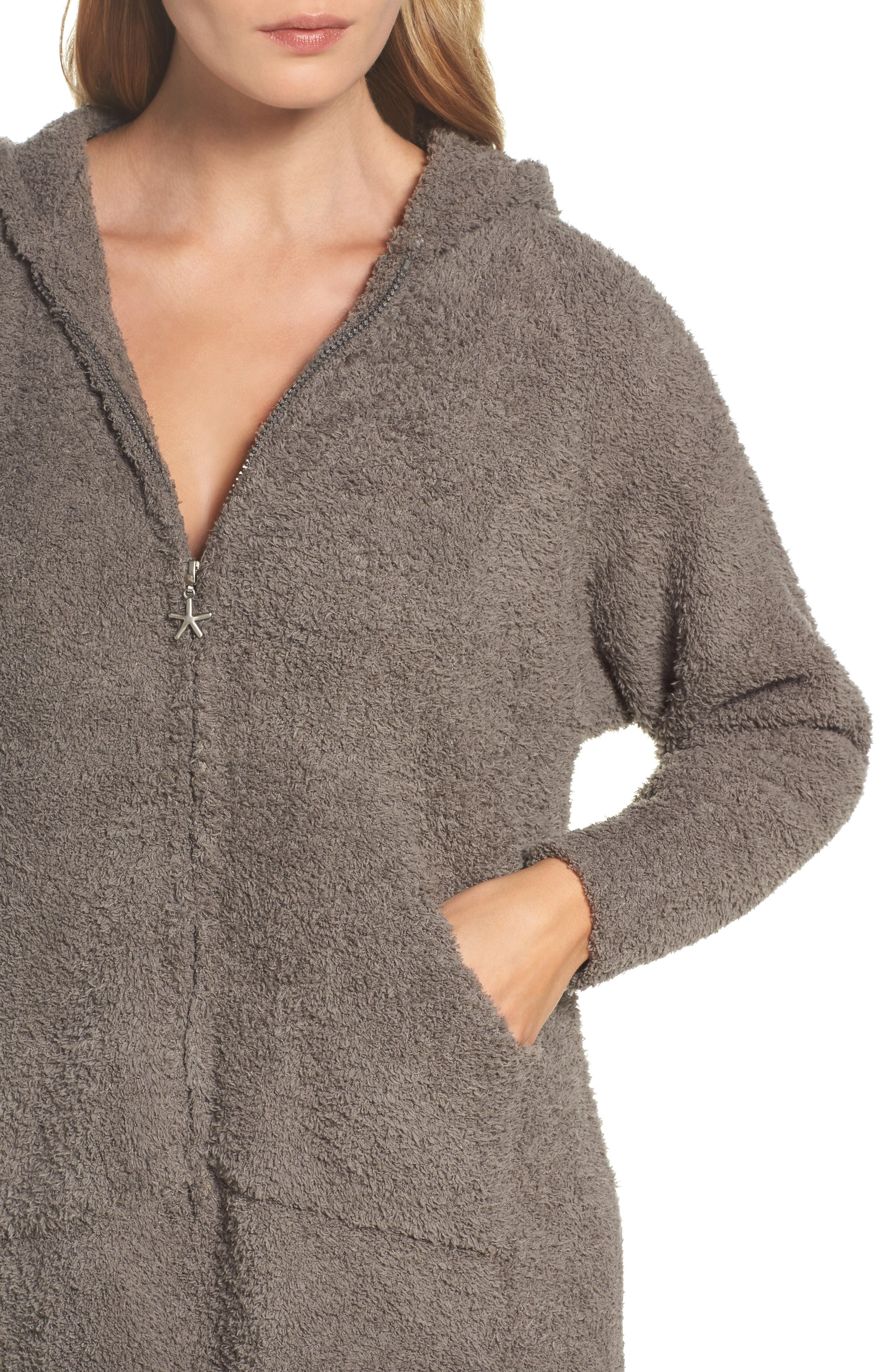 BAREFOOT DREAMS<SUP>®</SUP>, CozyChic<sup>®</sup> Hooded Zip Robe, Alternate thumbnail 4, color, 020