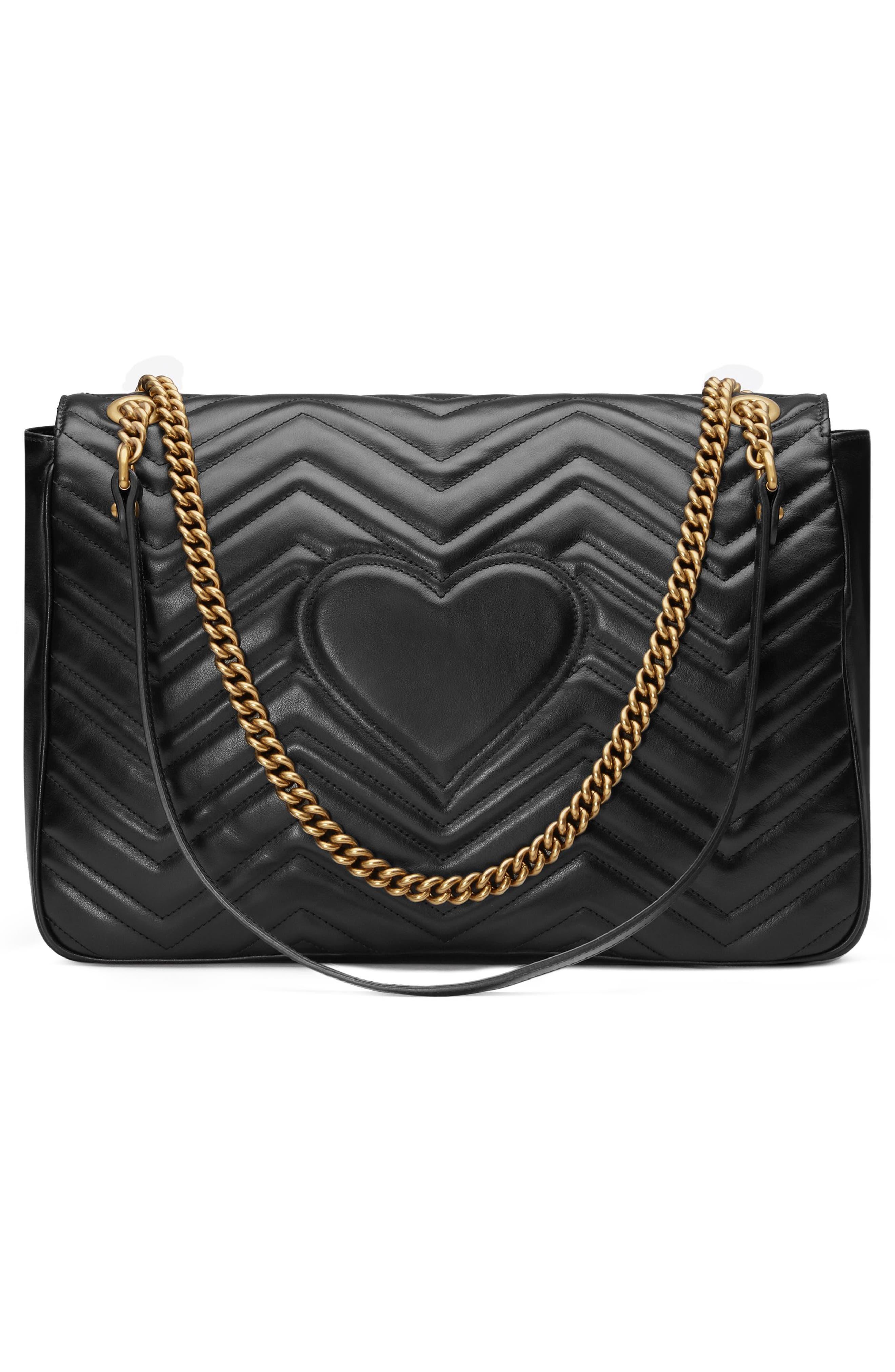 GUCCI, GG Large Marmont 2.0 Matelassé Leather Shoulder Bag, Alternate thumbnail 3, color, NERO