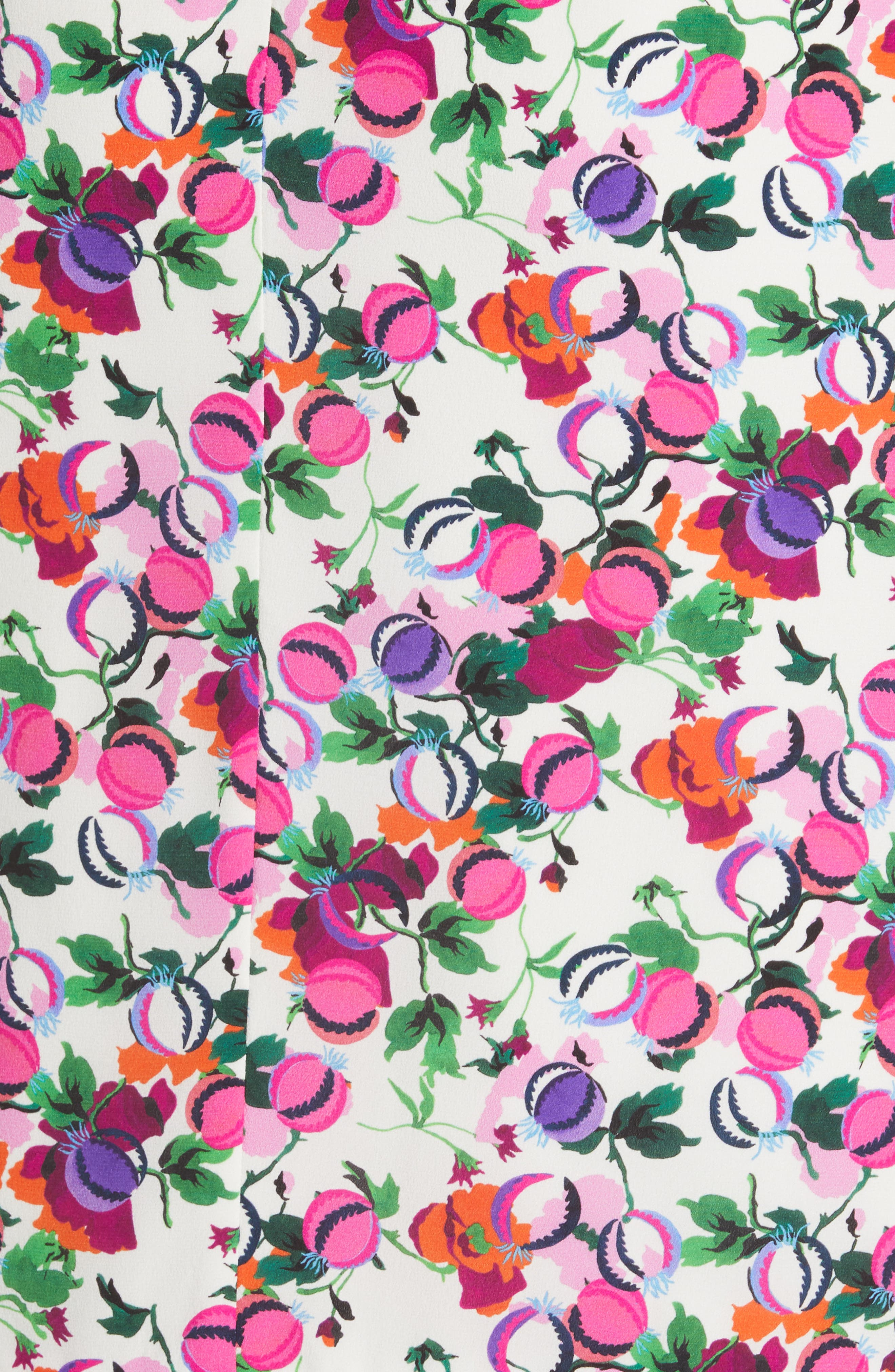 SALONI, Olivia Floral Print Off the Shoulder Midi Dress, Alternate thumbnail 5, color, ROSE BOUNTY BLACK