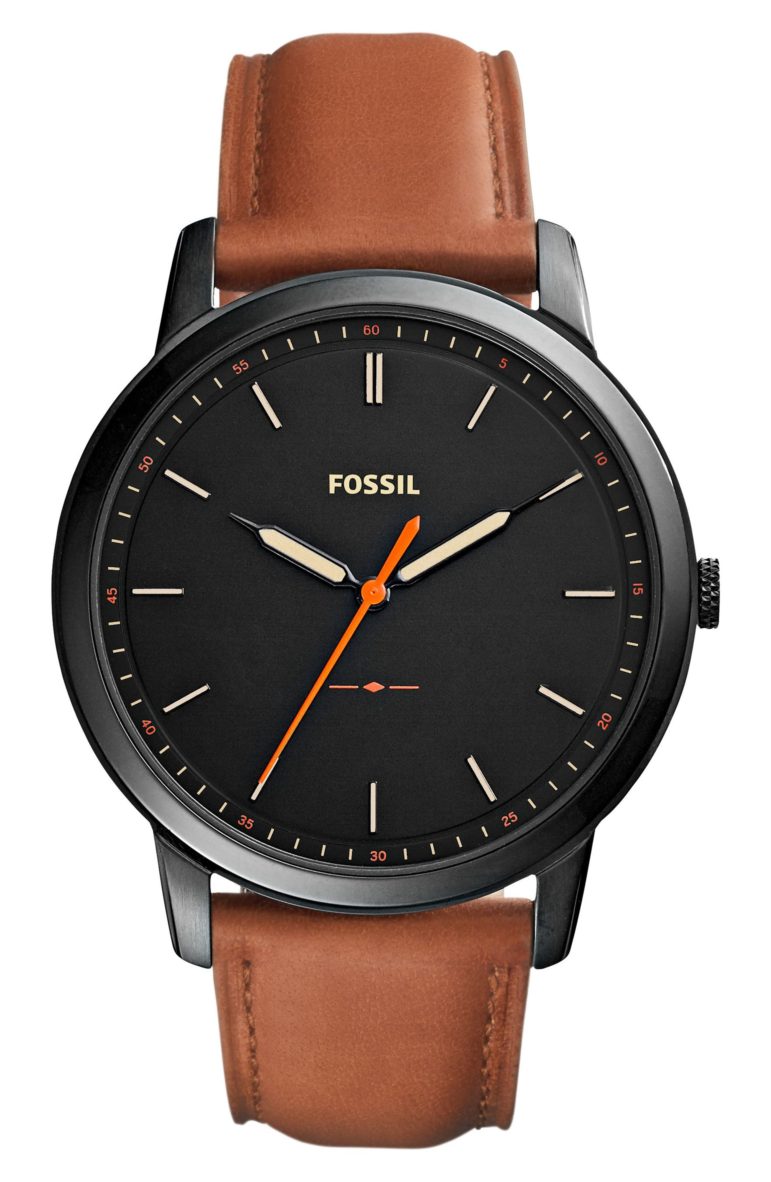 FOSSIL, Minimalist Leather Strap Watch, 44mm, Main thumbnail 1, color, BROWN/ BLACK