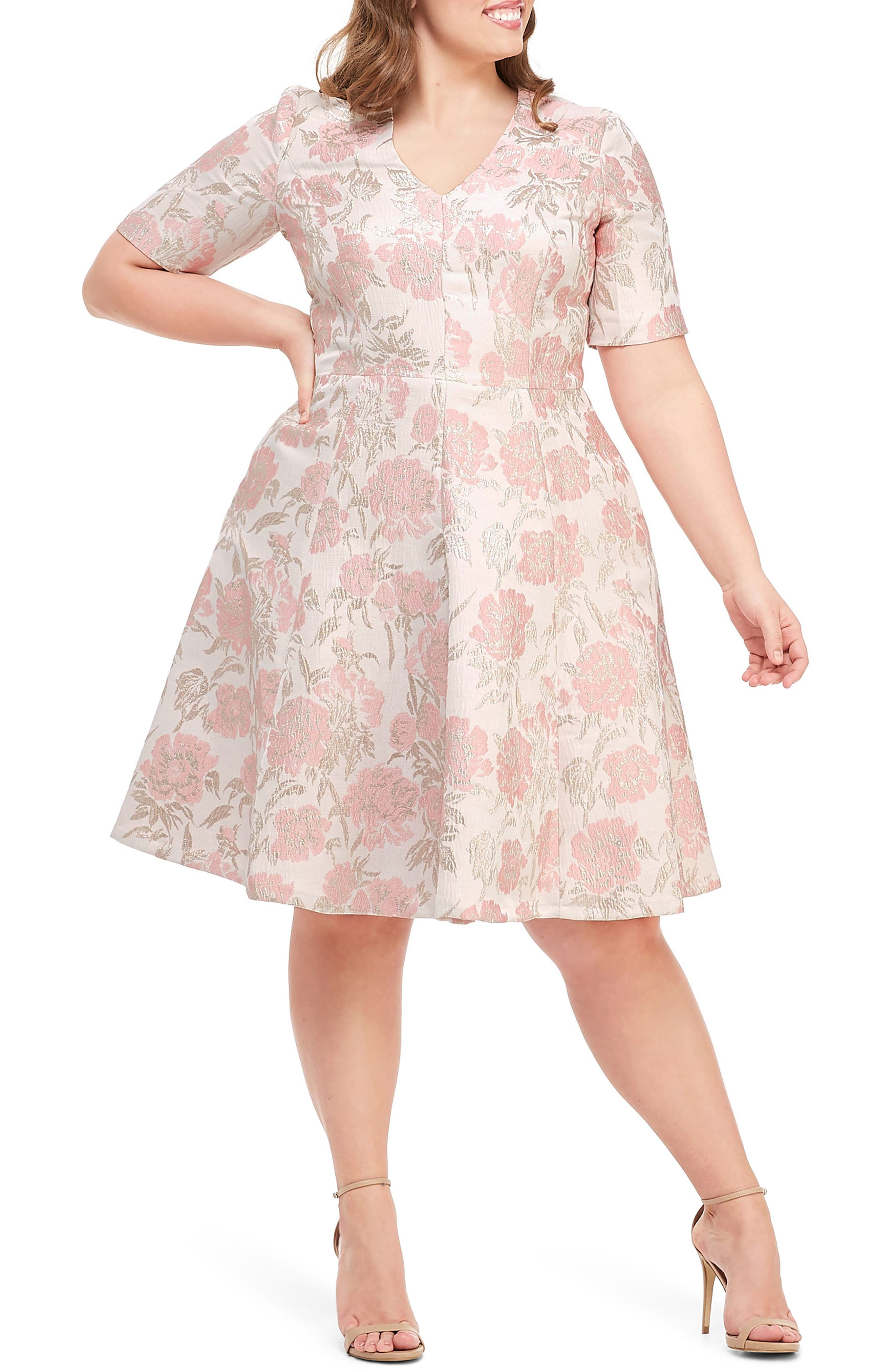 GAL MEETS GLAM COLLECTION, Adair Pink Passion Rose Jacquard Fit & Flare Dress, Alternate thumbnail 2, color, 685