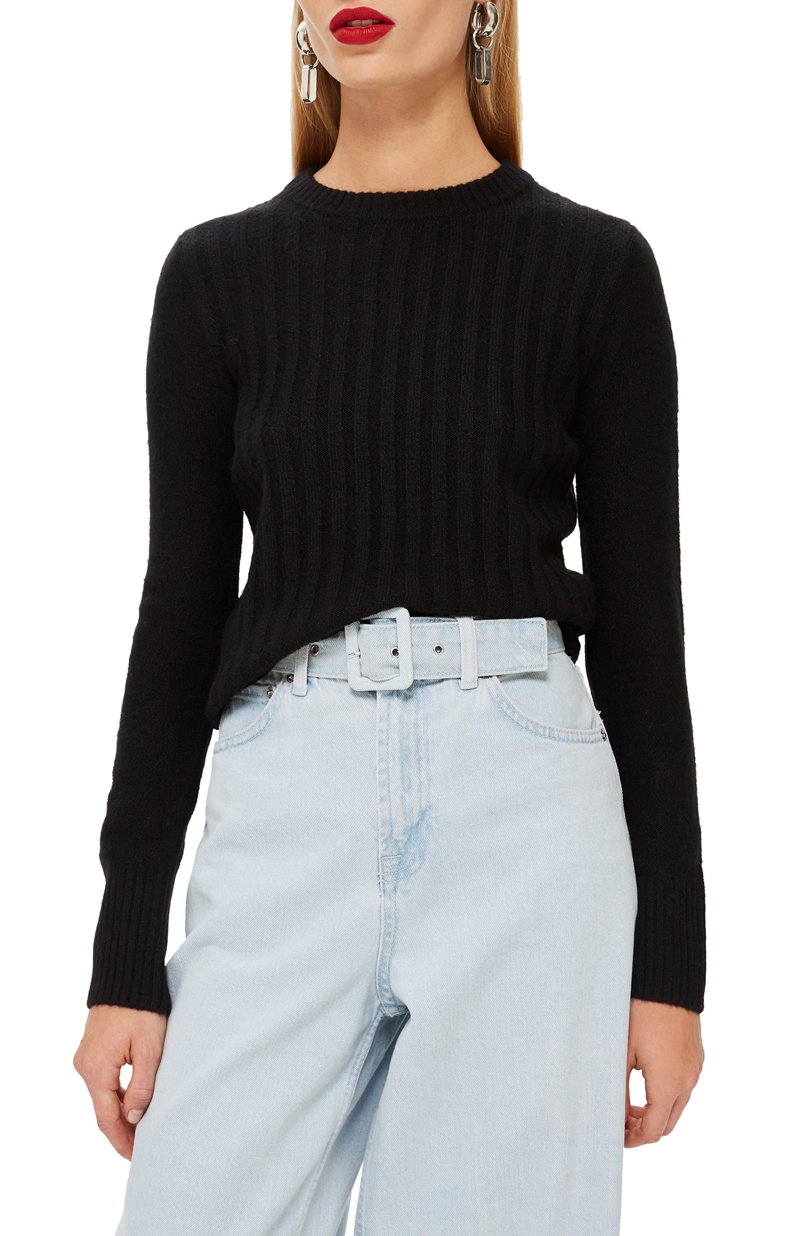 TOPSHOP, Rib Sweater, Main thumbnail 1, color, BLACK