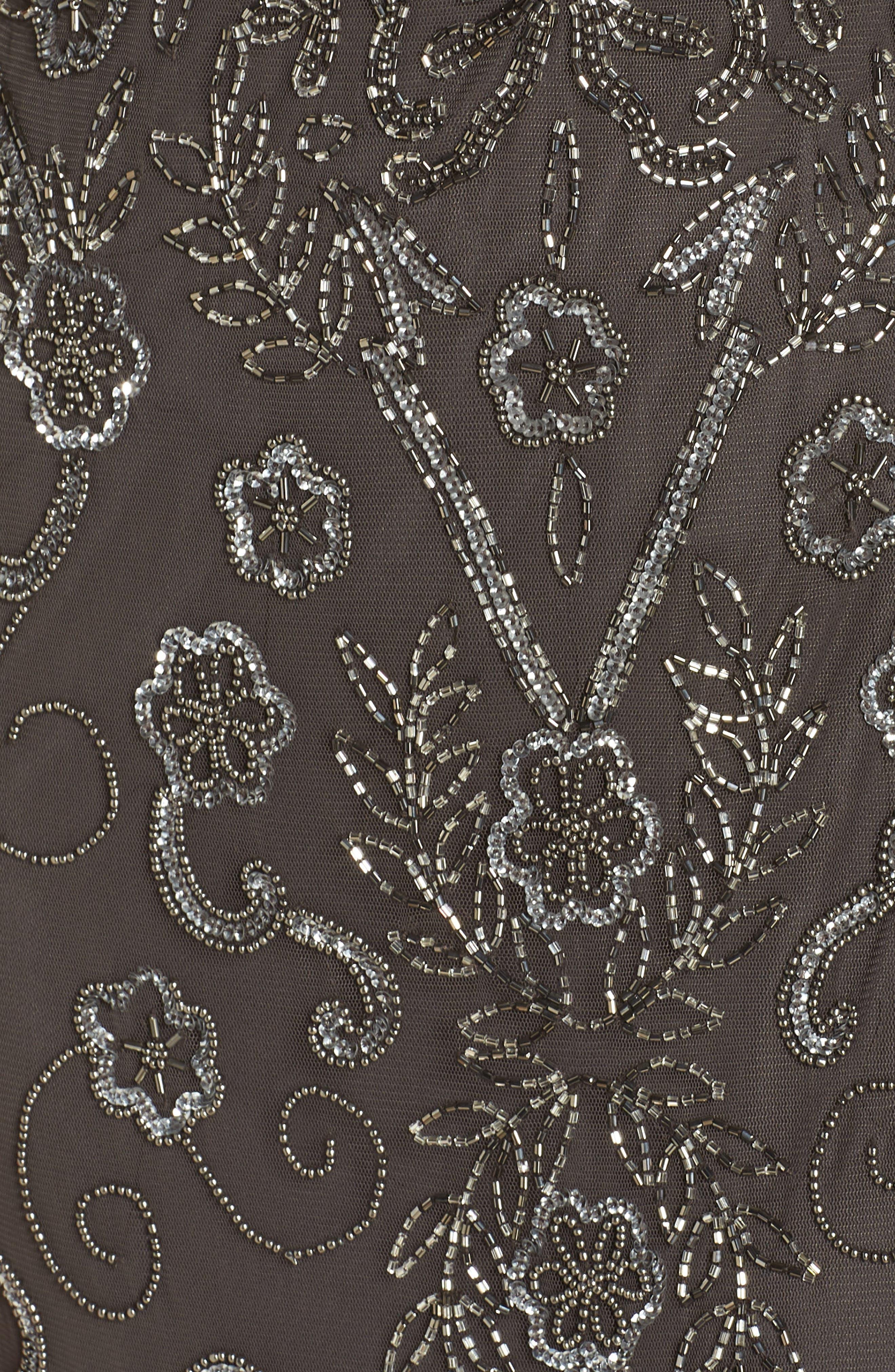 PISARRO NIGHTS, Embellished Mesh Evening Dress, Alternate thumbnail 6, color, SLIVER / GREY